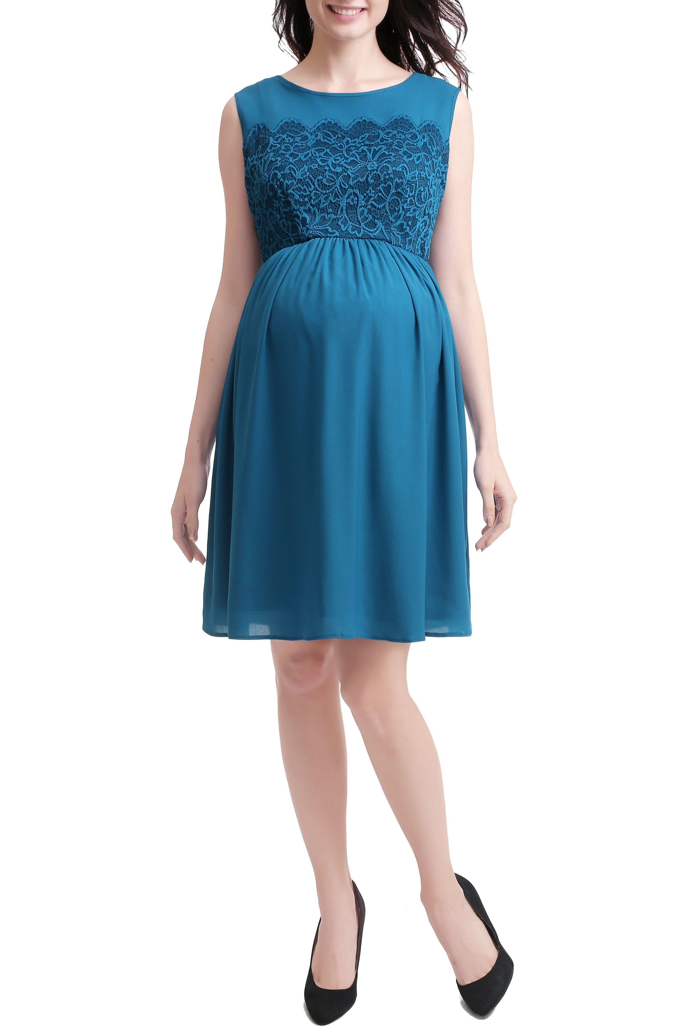 Sade Lace & Mesh Maternity Dress,                             Main thumbnail 1, color,                             Deep Sea