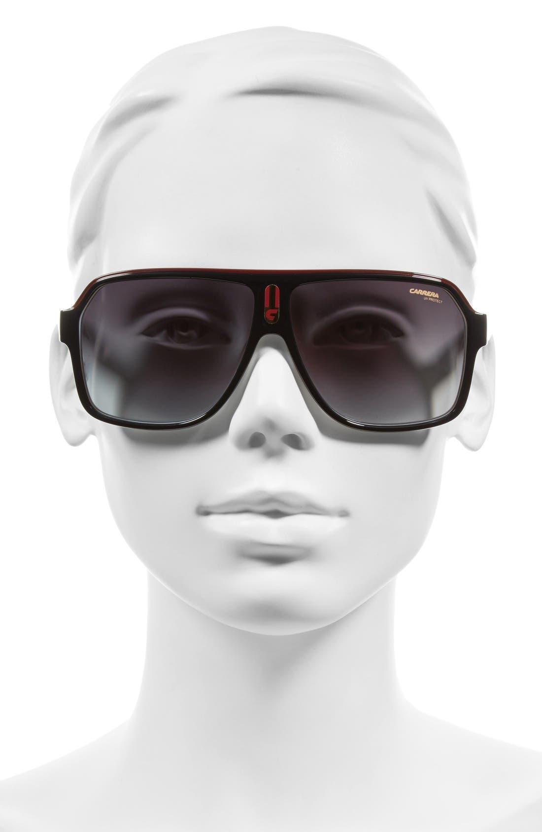 62mm Aviator Sunglasses,                             Alternate thumbnail 2, color,                             Black White