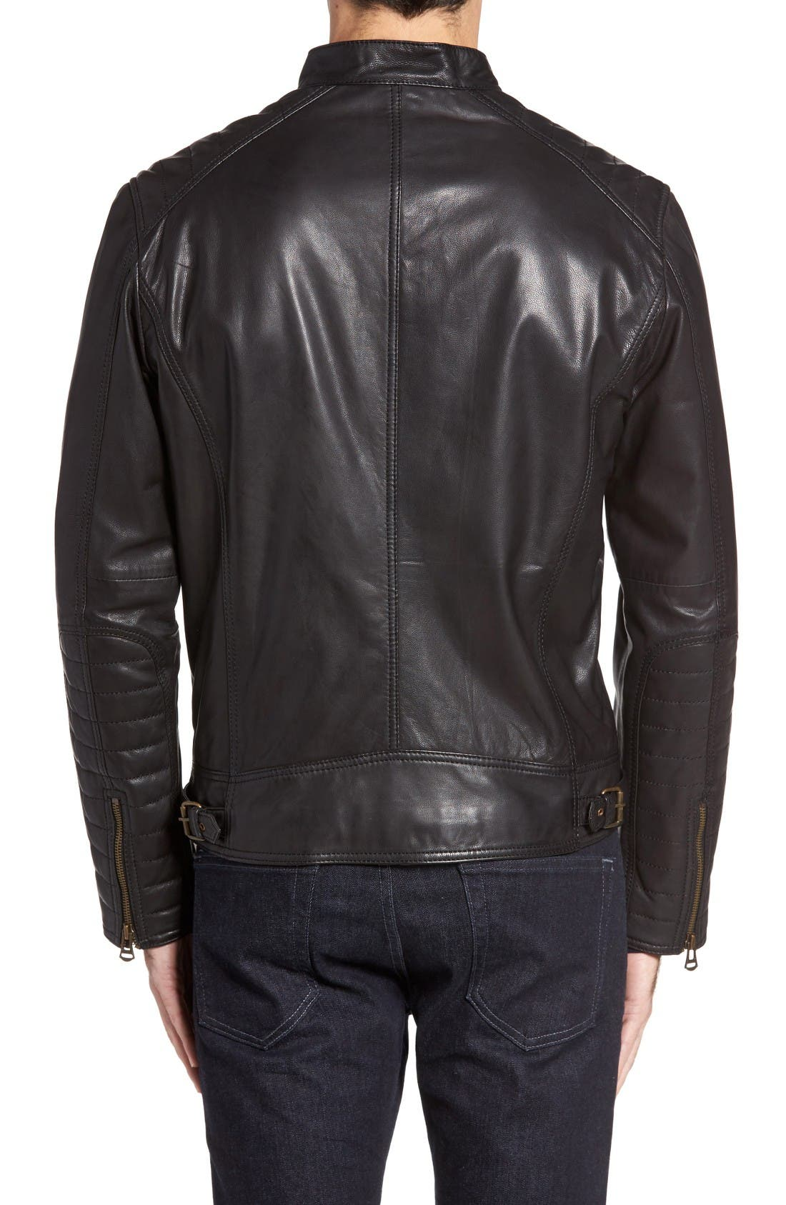 Alternate Image 2  - Cole Haan Washed Leather Moto Jacket