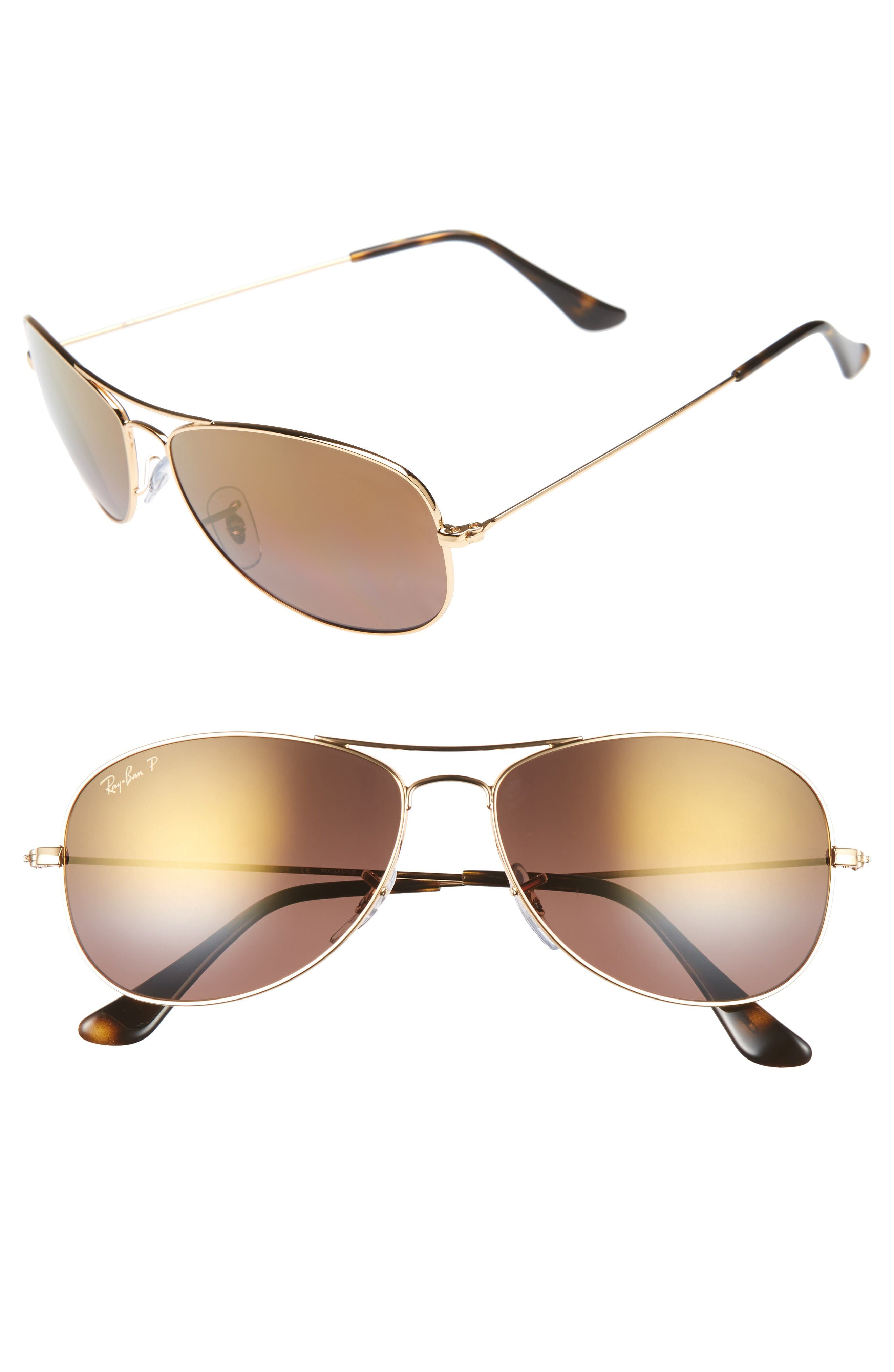 Tech 59mm Polarized Sunglasses,                             Main thumbnail 1, color,                             Gold/ Purple