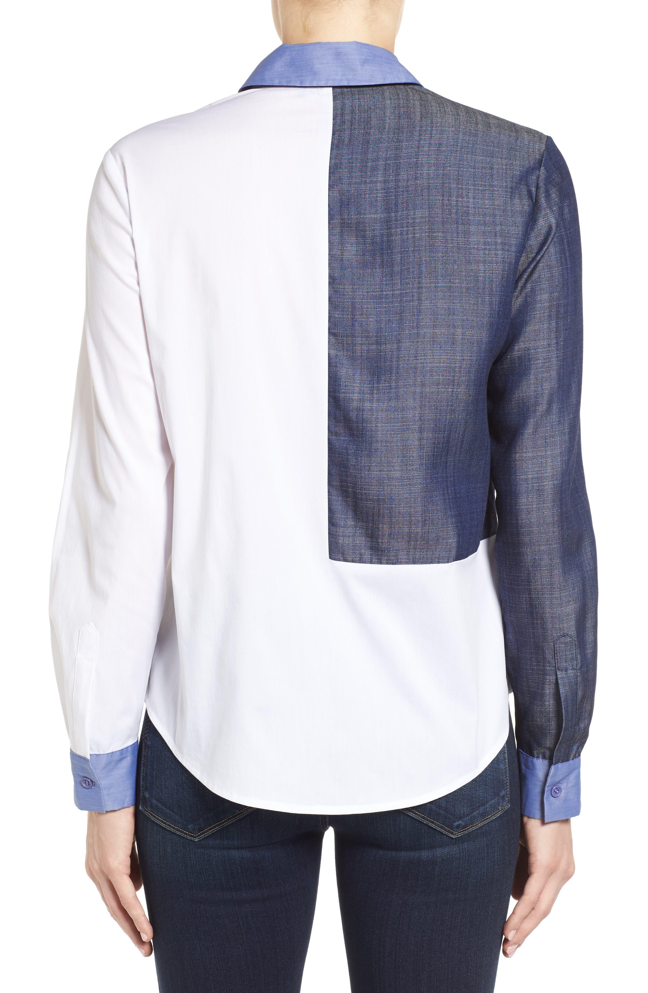 Alternate Image 2  - Ivanka Trump Denim & Poplin Colorblock Shirt