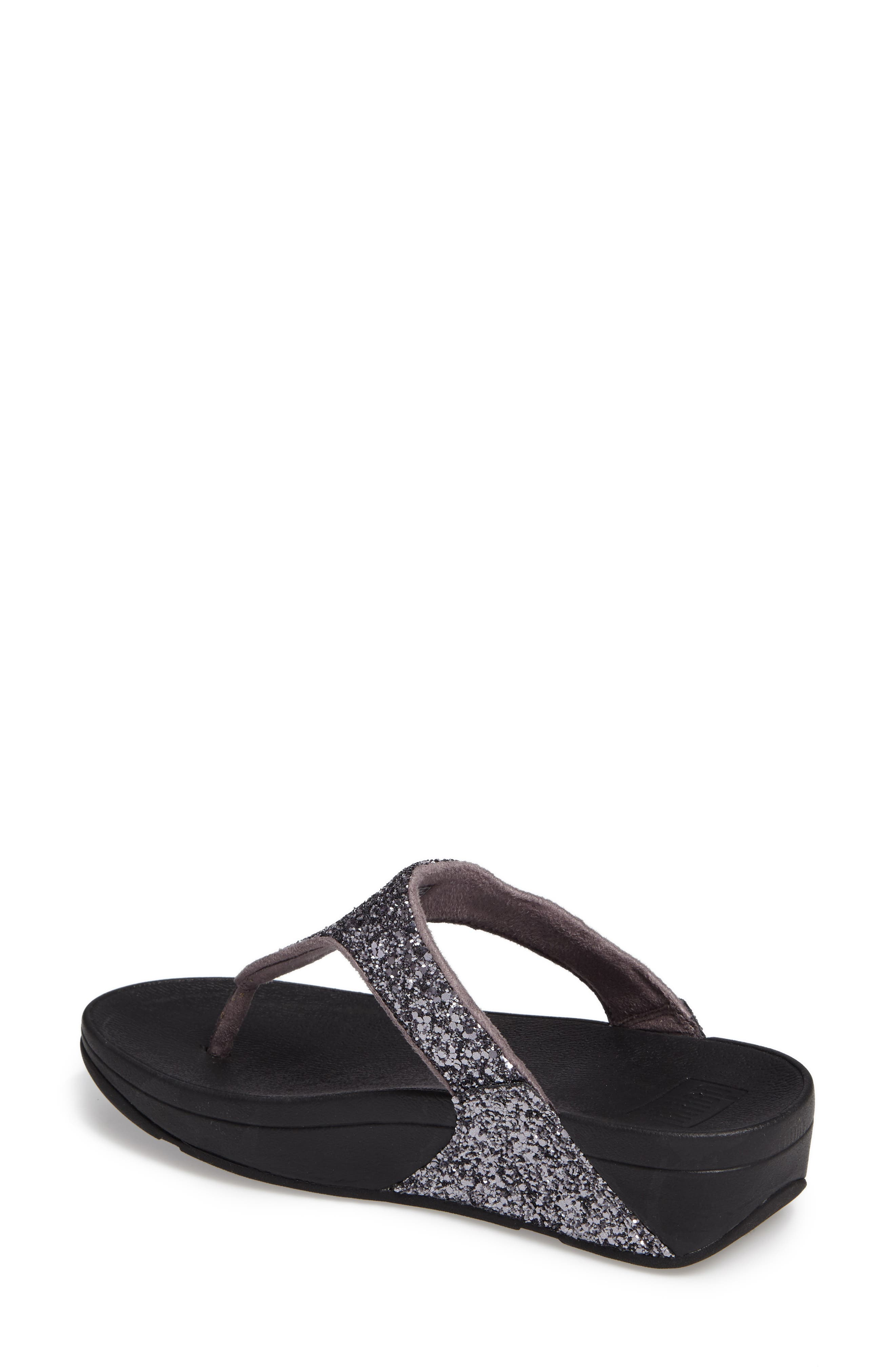 Glitterball<sup>™</sup> Thong Sandal,                             Alternate thumbnail 3, color,                             Pewter Fabric