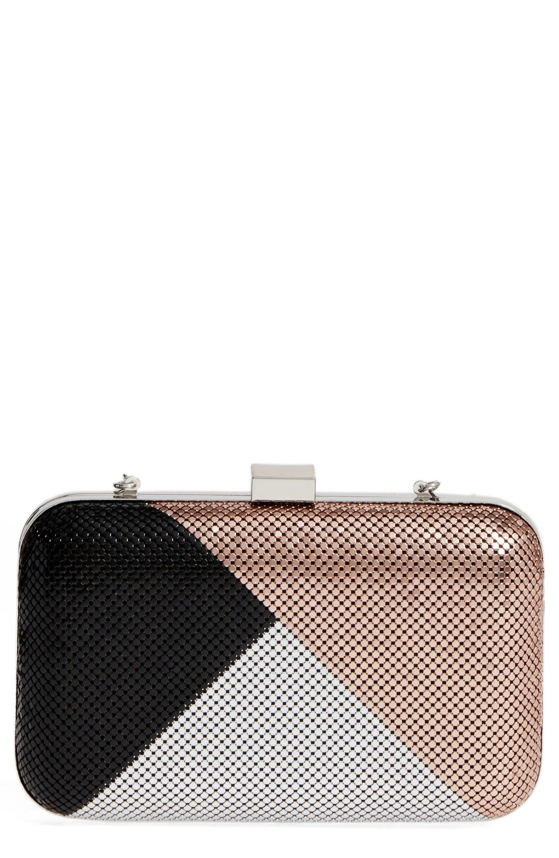 Color Block Mesh Box Clutch,                             Main thumbnail 1, color,                             Black Multi