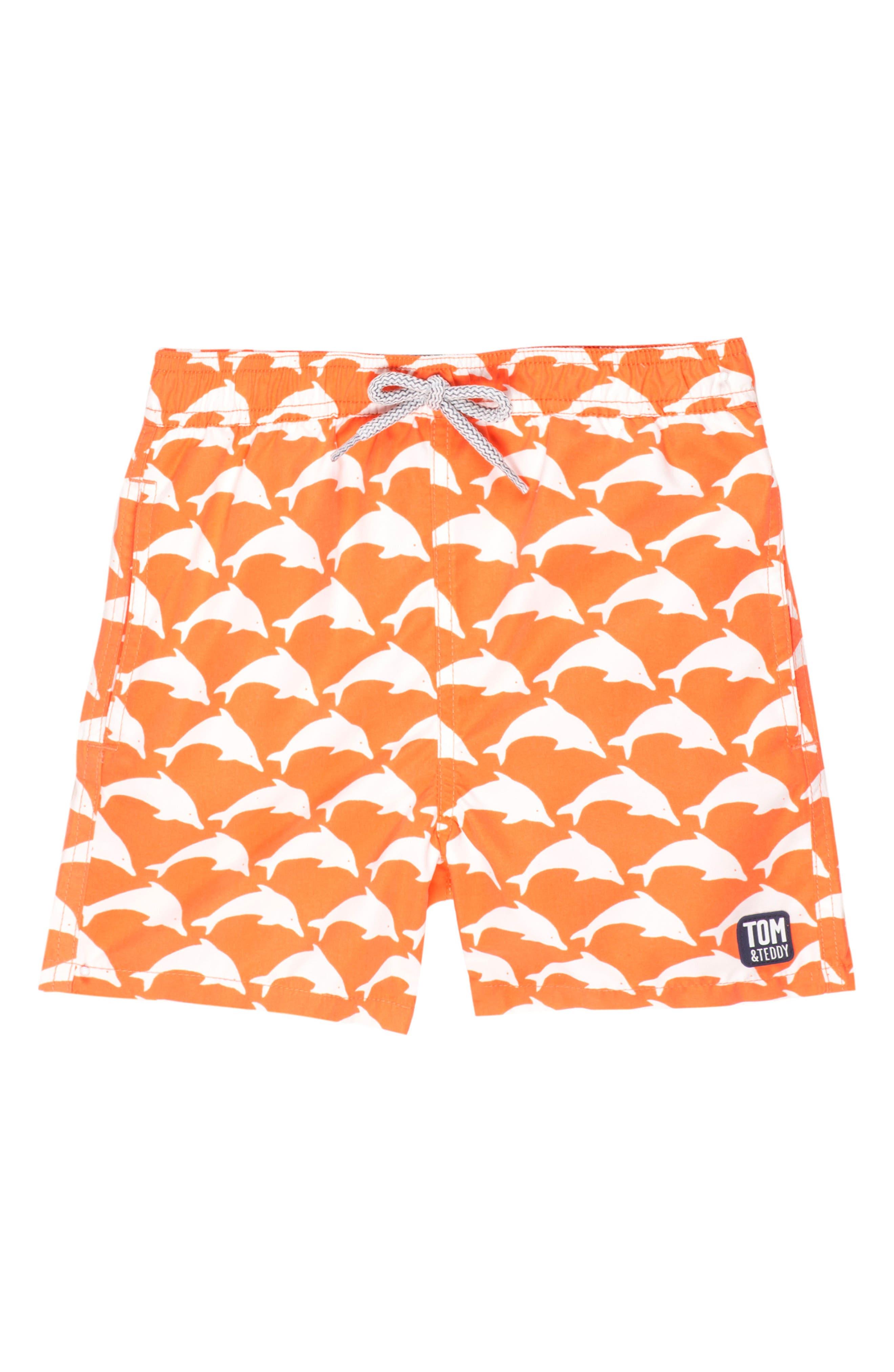 Alternate Image 1 Selected - Tom & Teddy Dolphin Swim Trunks (Toddler Boys, Little Boys & Big Boys)