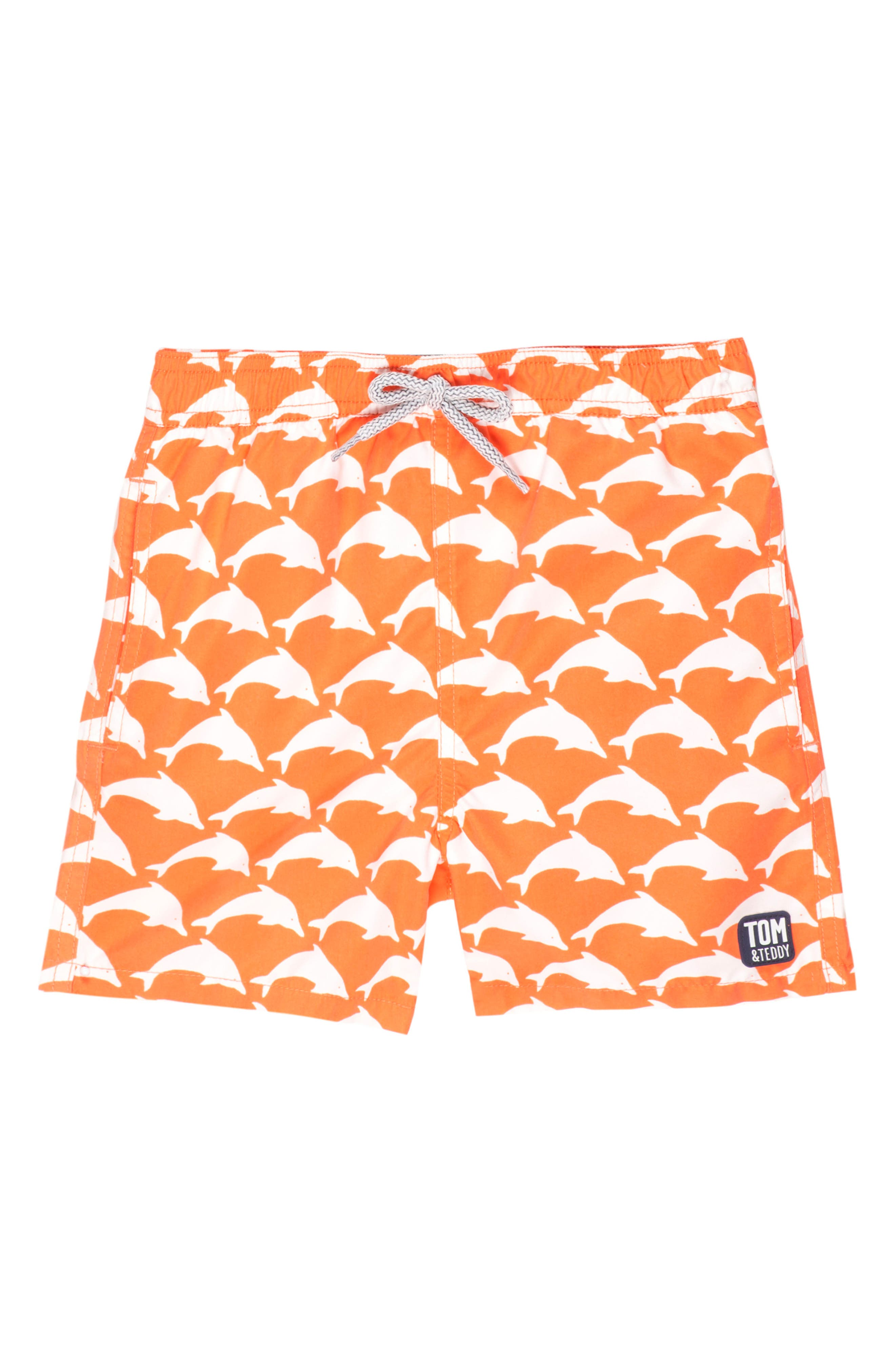 Main Image - Tom & Teddy Dolphin Swim Trunks (Toddler Boys, Little Boys & Big Boys)
