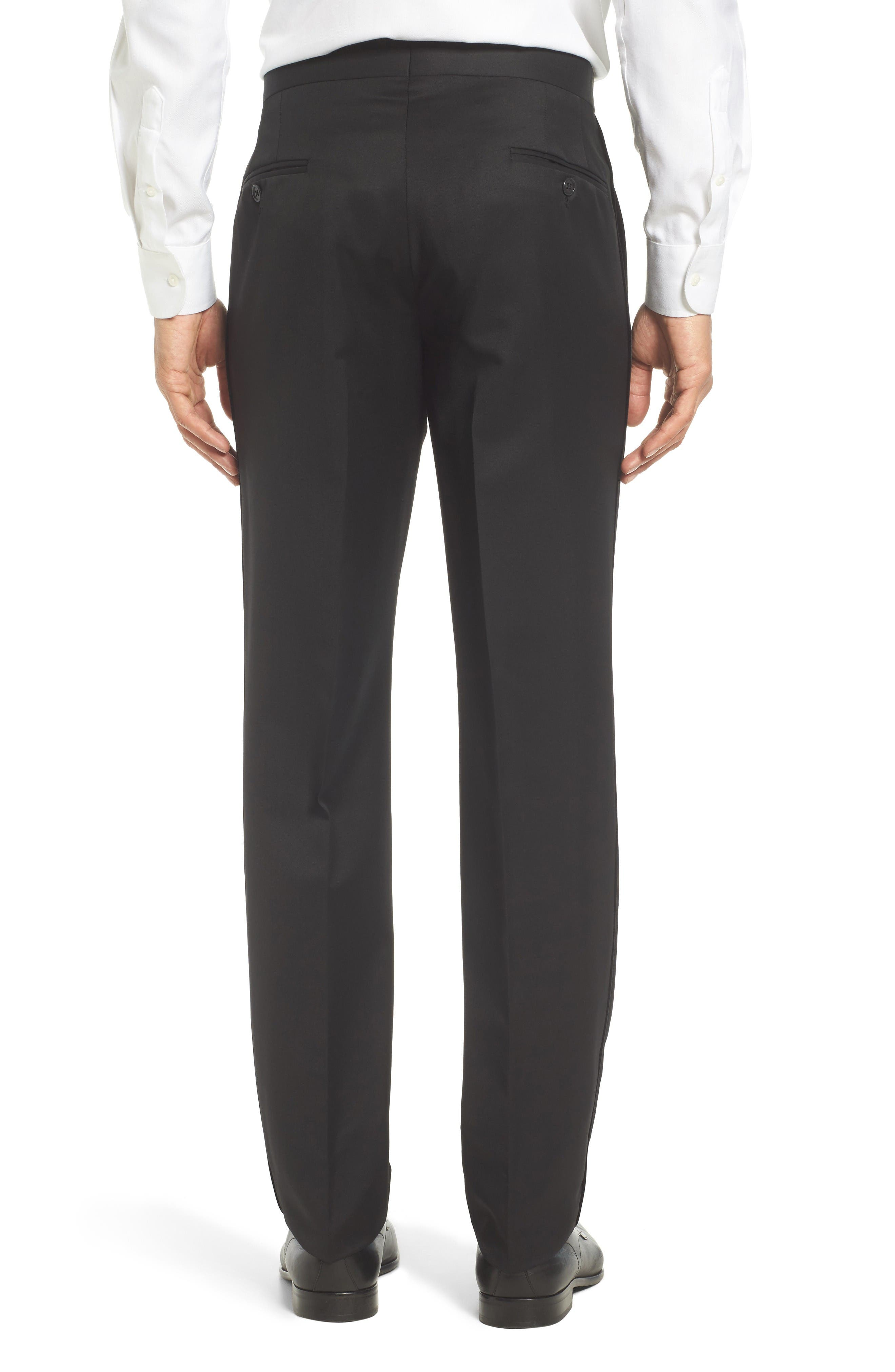 Josh Flat Front Wool & Mohair Tuxedo Pants,                             Alternate thumbnail 2, color,                             Black