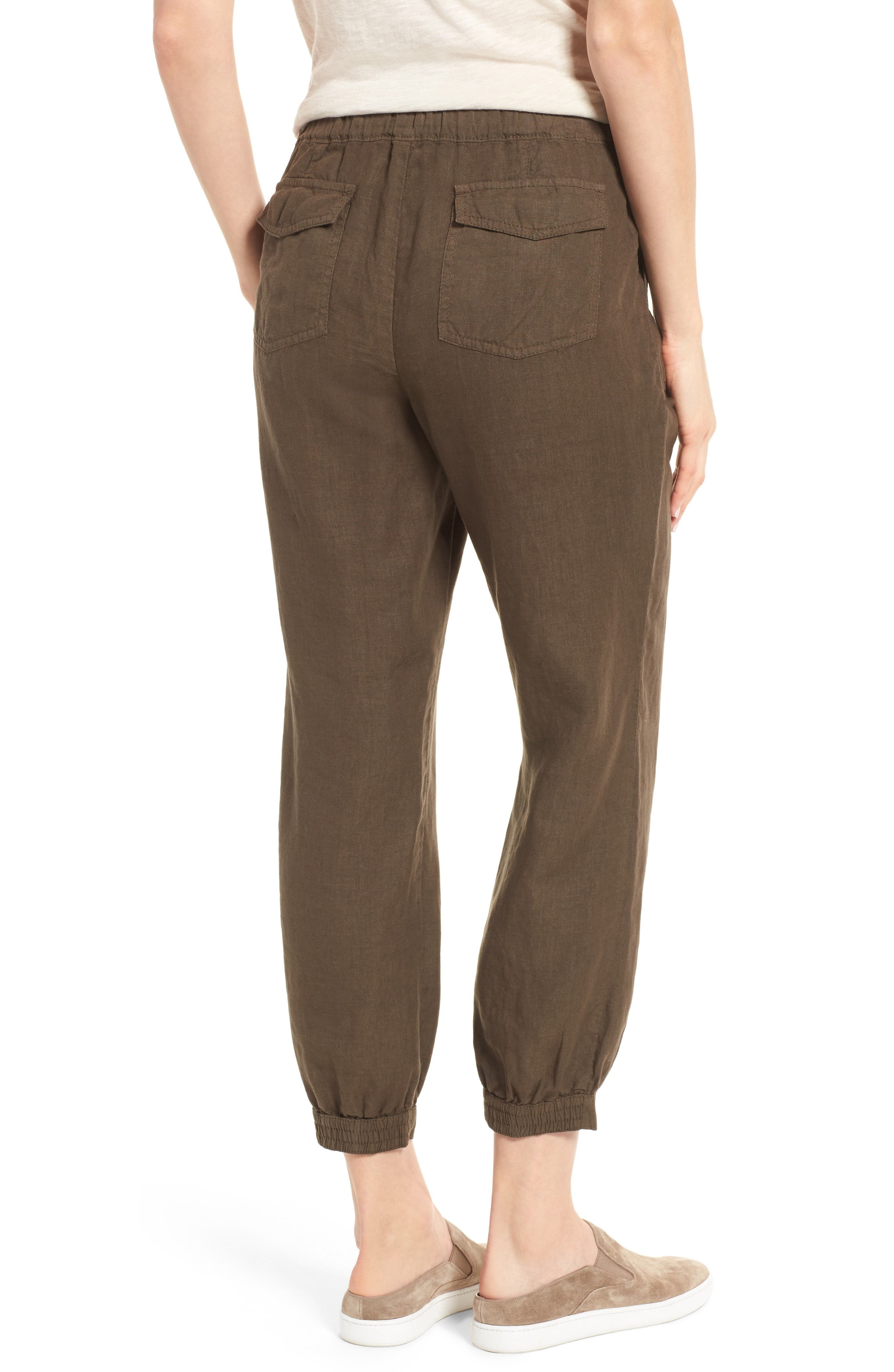 Crop Linen Joggers,                             Alternate thumbnail 3, color,                             Olive Tuscan
