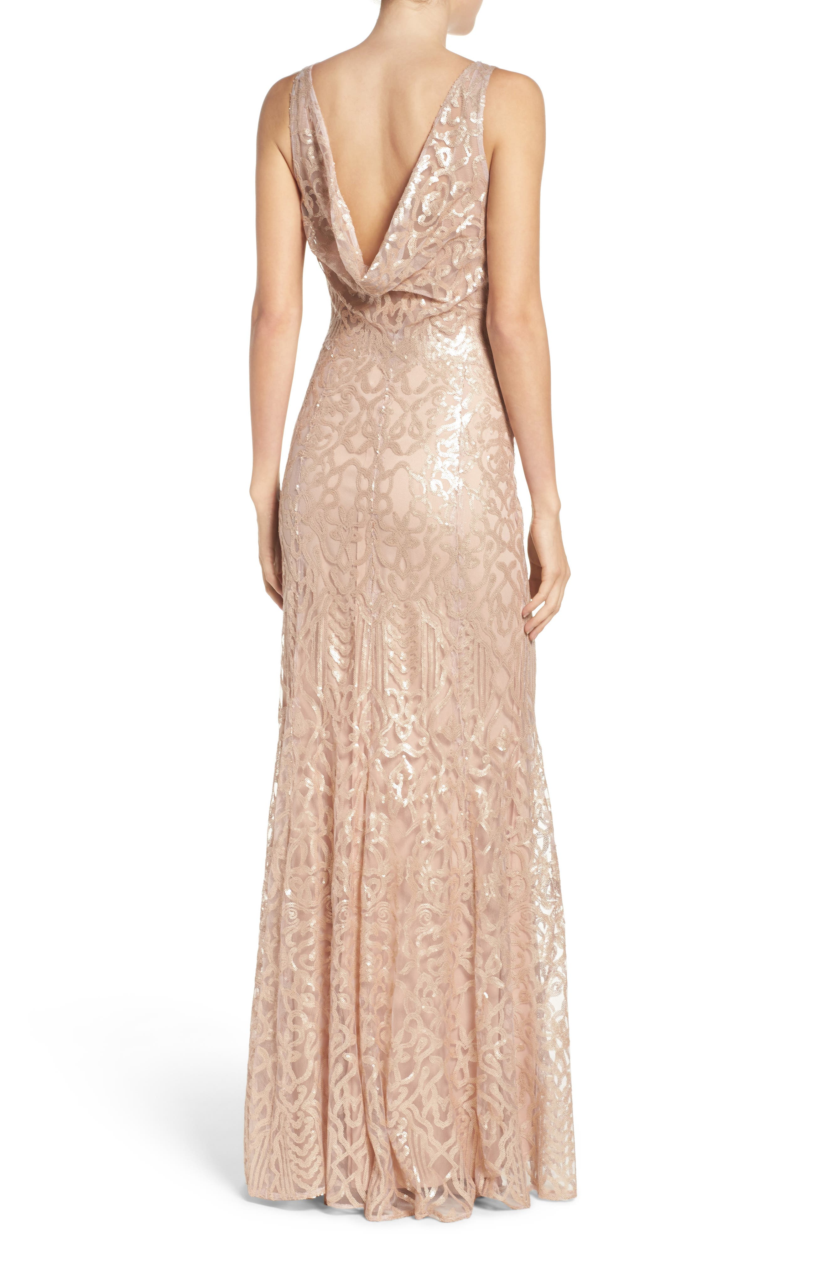 Sequin Embroidered Cowl Back A-Line Gown,                             Alternate thumbnail 2, color,                             Latte