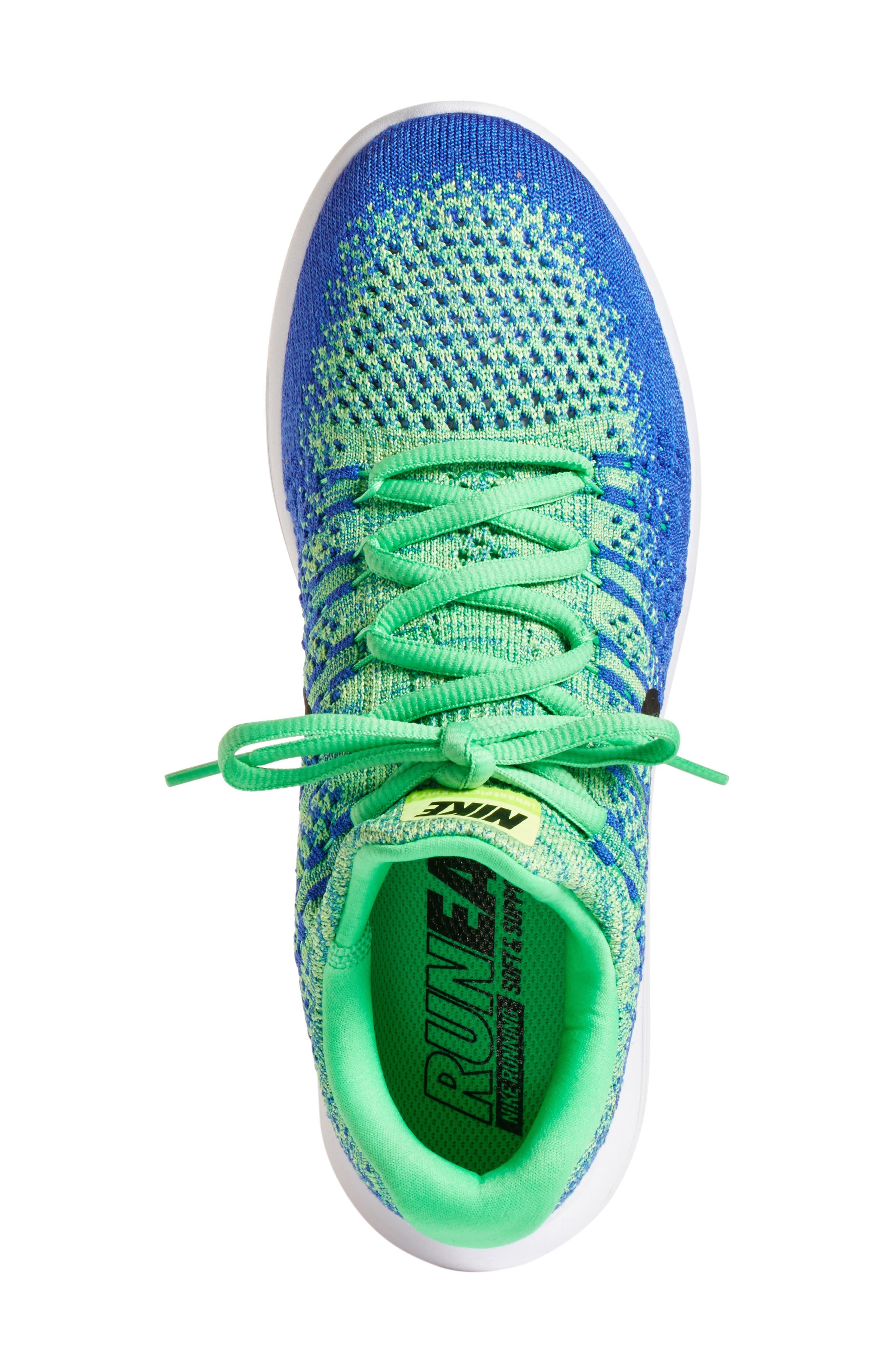 Flyknit 2 LunarEpic Running Shoe,                             Alternate thumbnail 3, color,                             Electro Green/ Black/ Blue