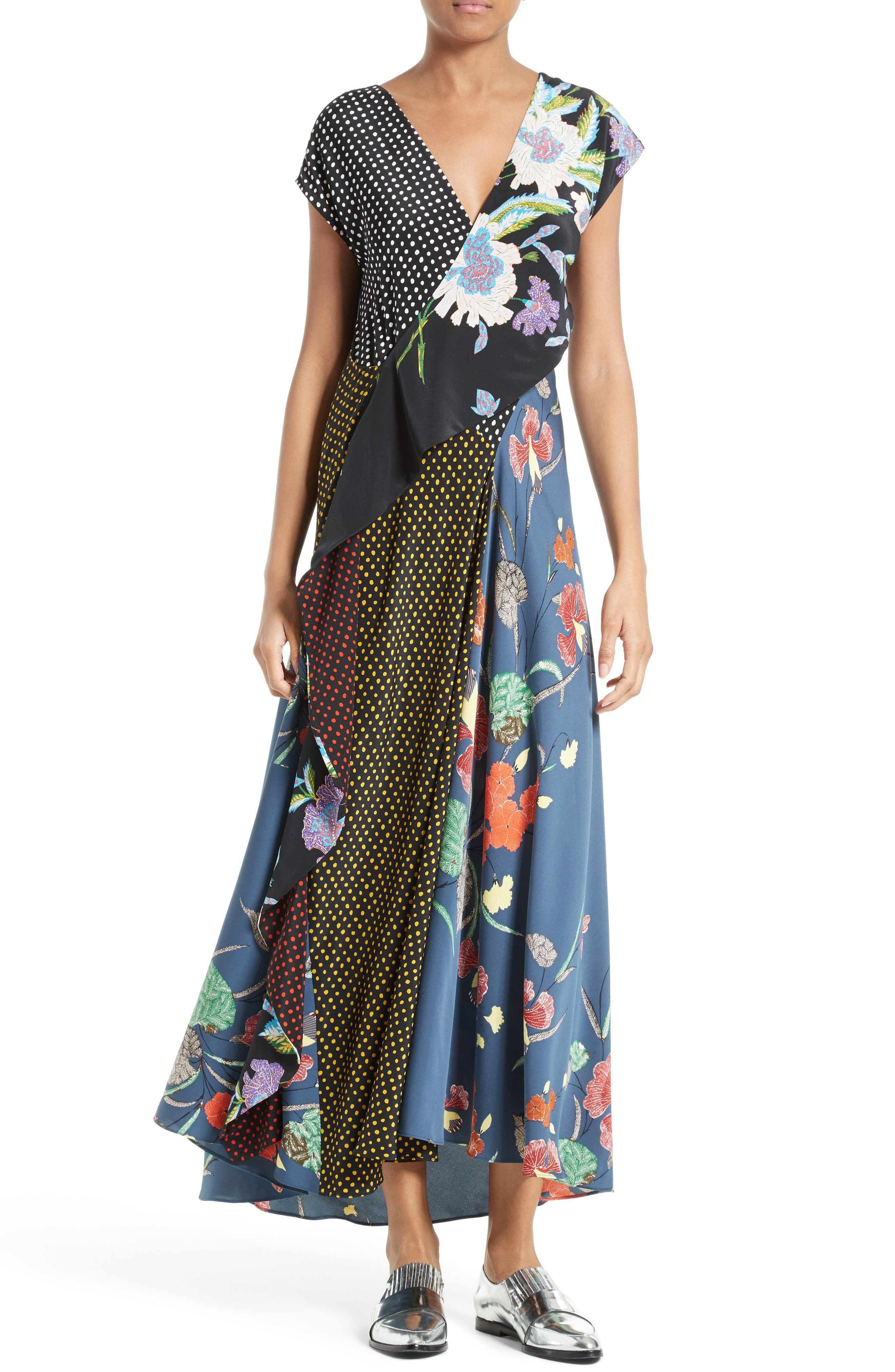 Faux Wrap Silk Maxi Dress,                             Main thumbnail 1, color,                             Ferma Blue