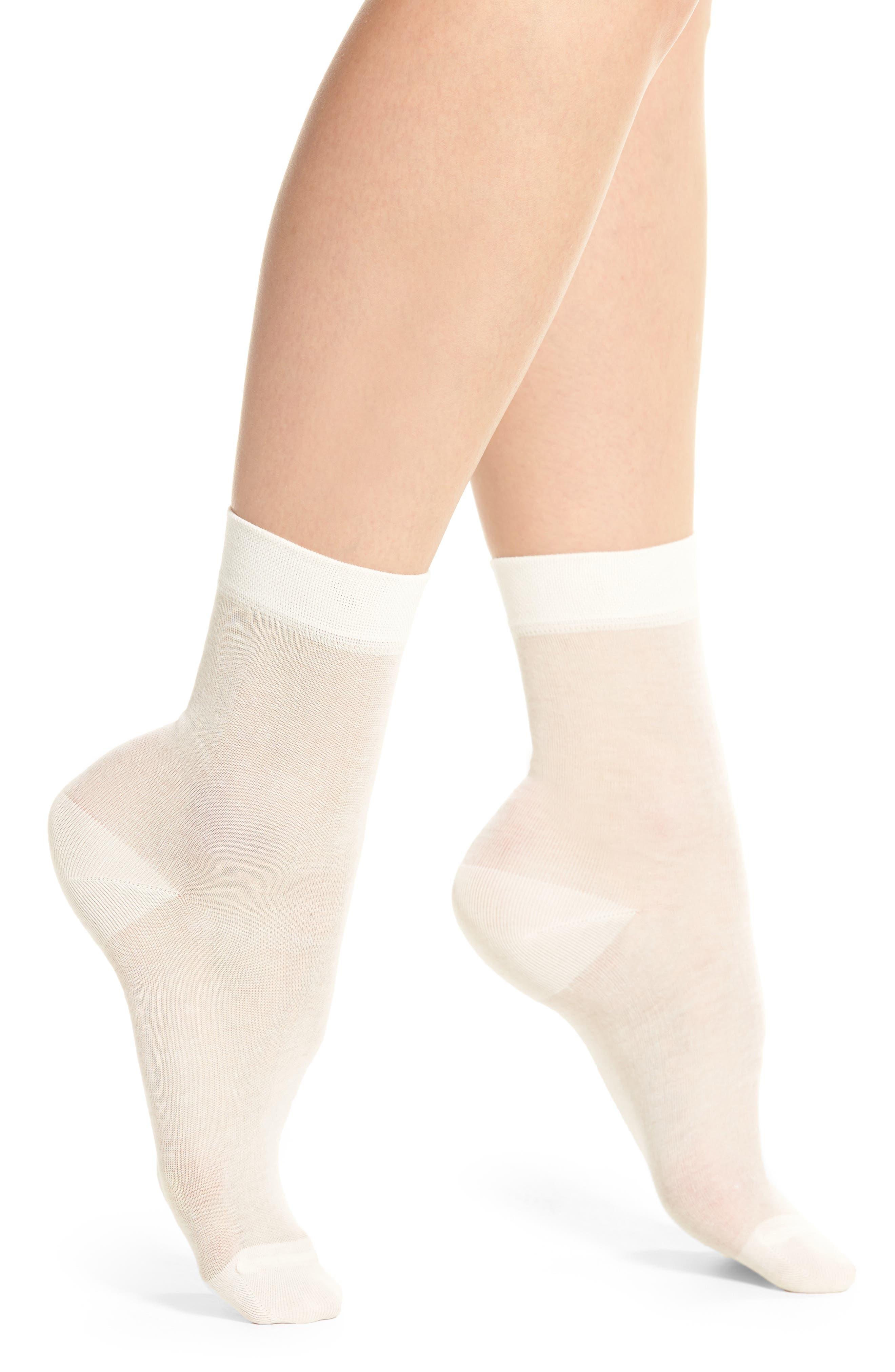 Sheer Crew Socks,                         Main,                         color, White Snow