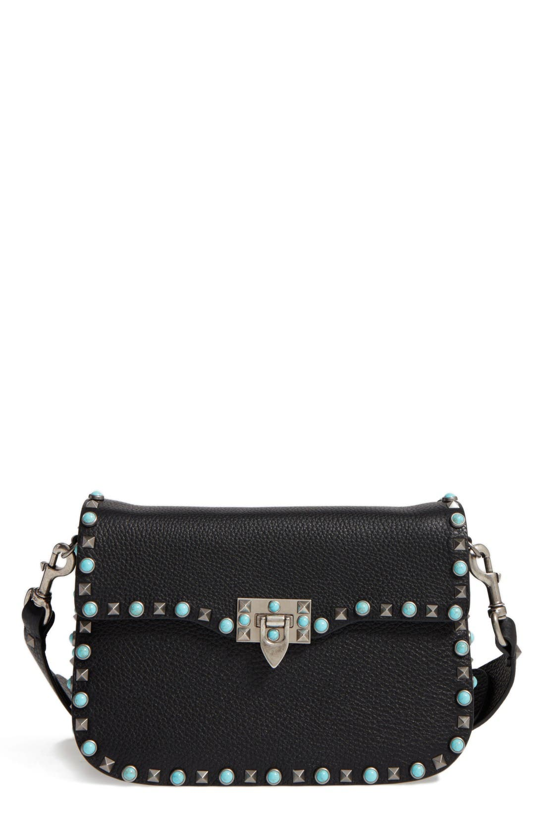 Main Image - VALENTINO GARAVANI Rolling Rockstud Guitar Strap Leather Shoulder Bag
