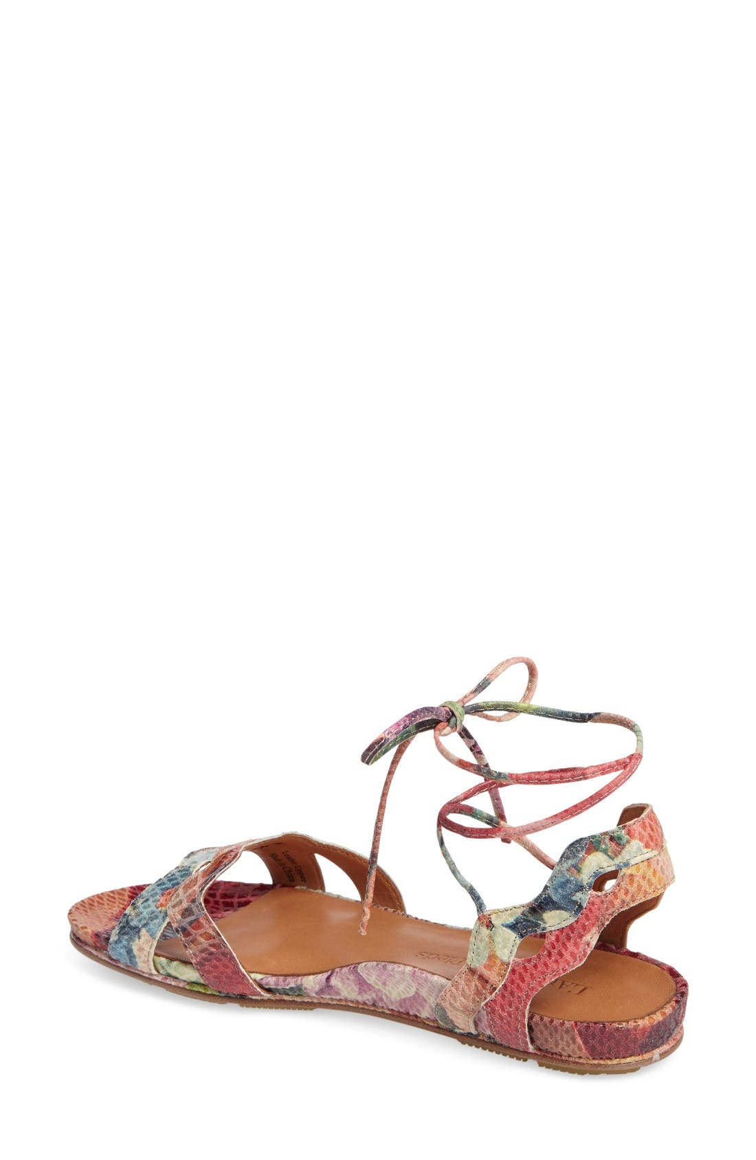 Darrylynn Wraparound Lace-Up Sandal,                             Alternate thumbnail 2, color,                             Bright Multi Printed Leather