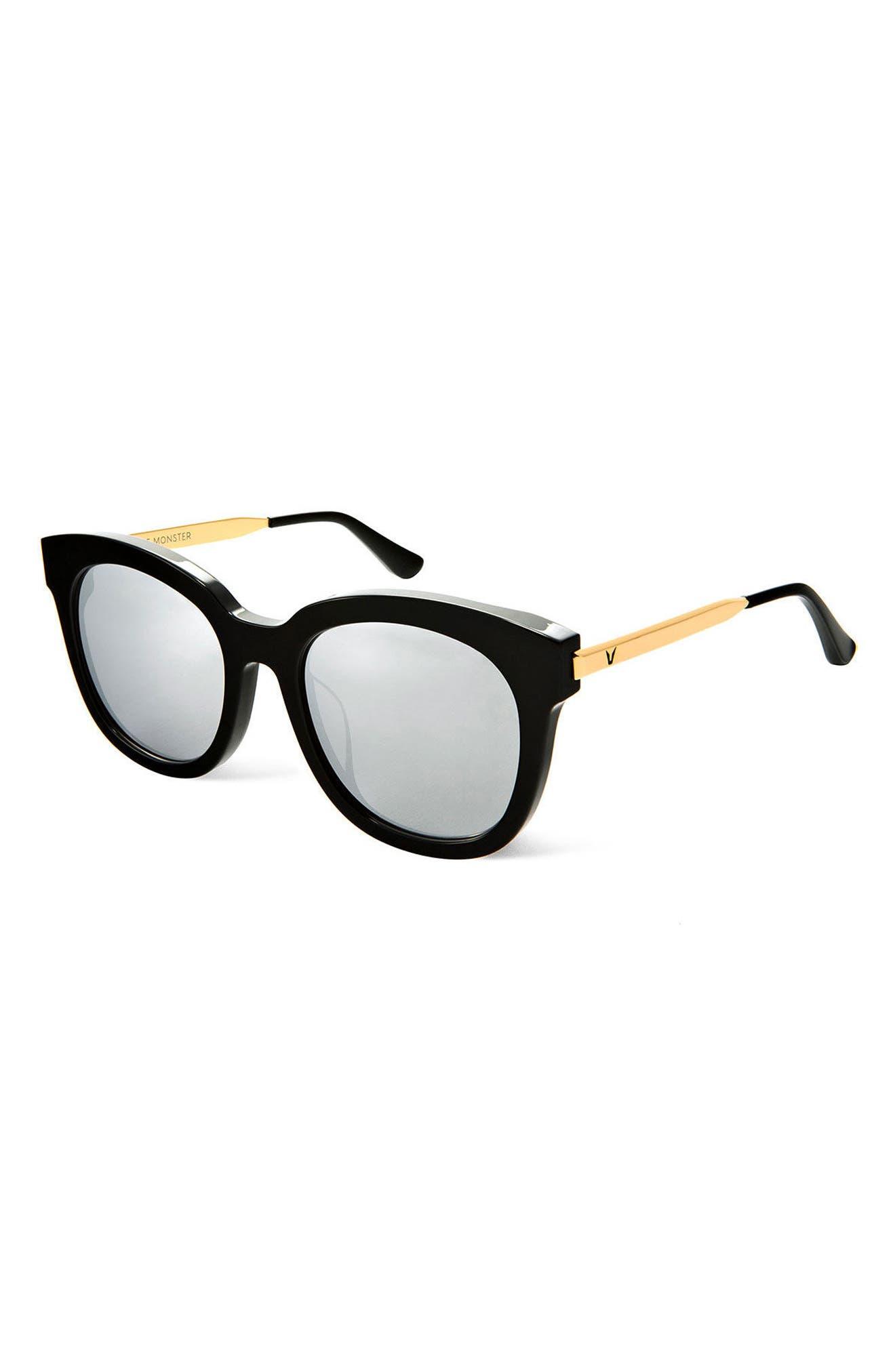 Cuba 55mm Sunglasses,                             Alternate thumbnail 2, color,                             Black/Silver