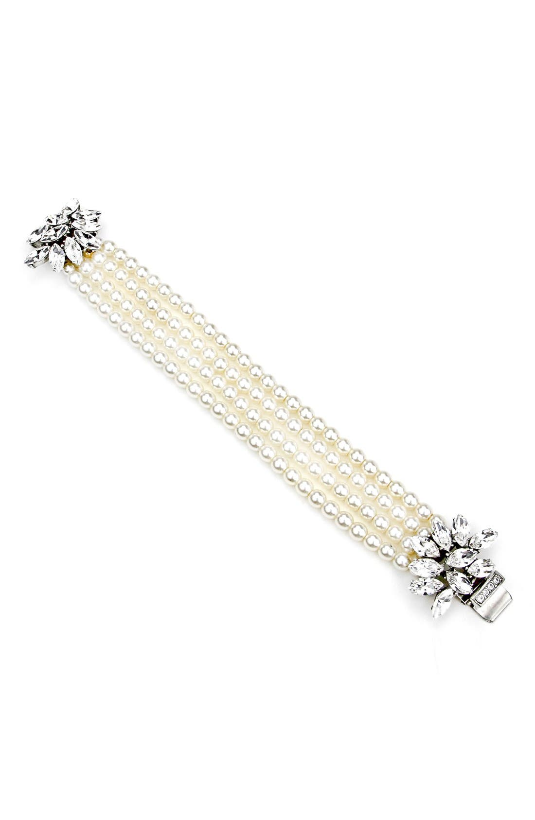 Cascading Crystals Faux Pearl Bracelet,                         Main,                         color, Ivory/ Clear