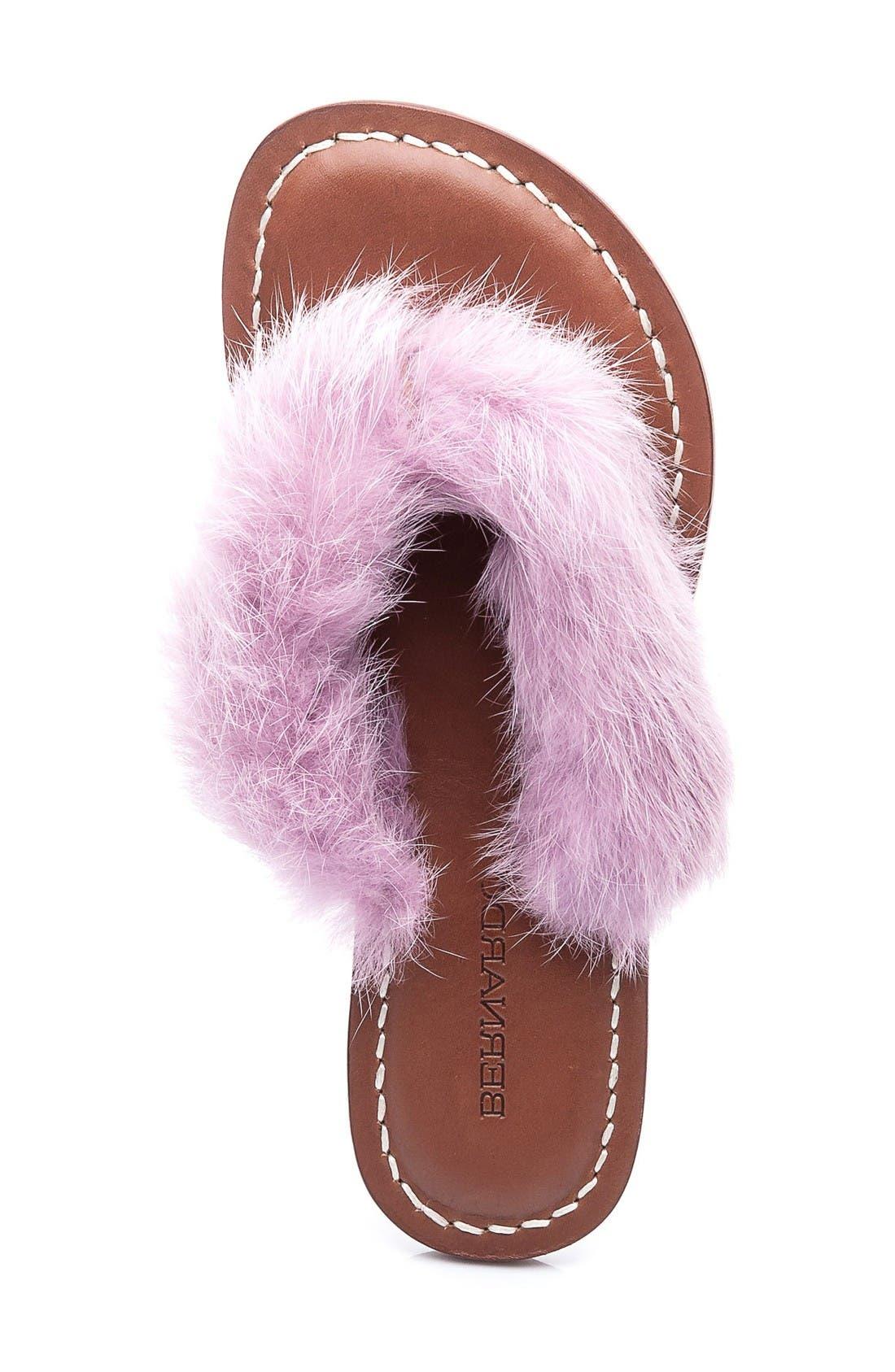 Genuine Rabbit Fur Flip Flop,                             Alternate thumbnail 3, color,                             Light Pink Fur