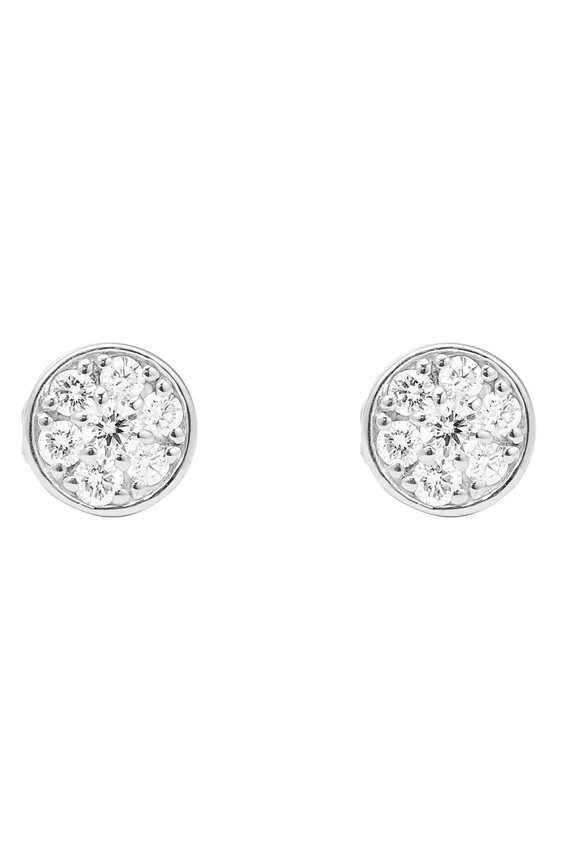 Diamond & Caviar Stud Earrings,                             Alternate thumbnail 2, color,                             Silver/ Gold