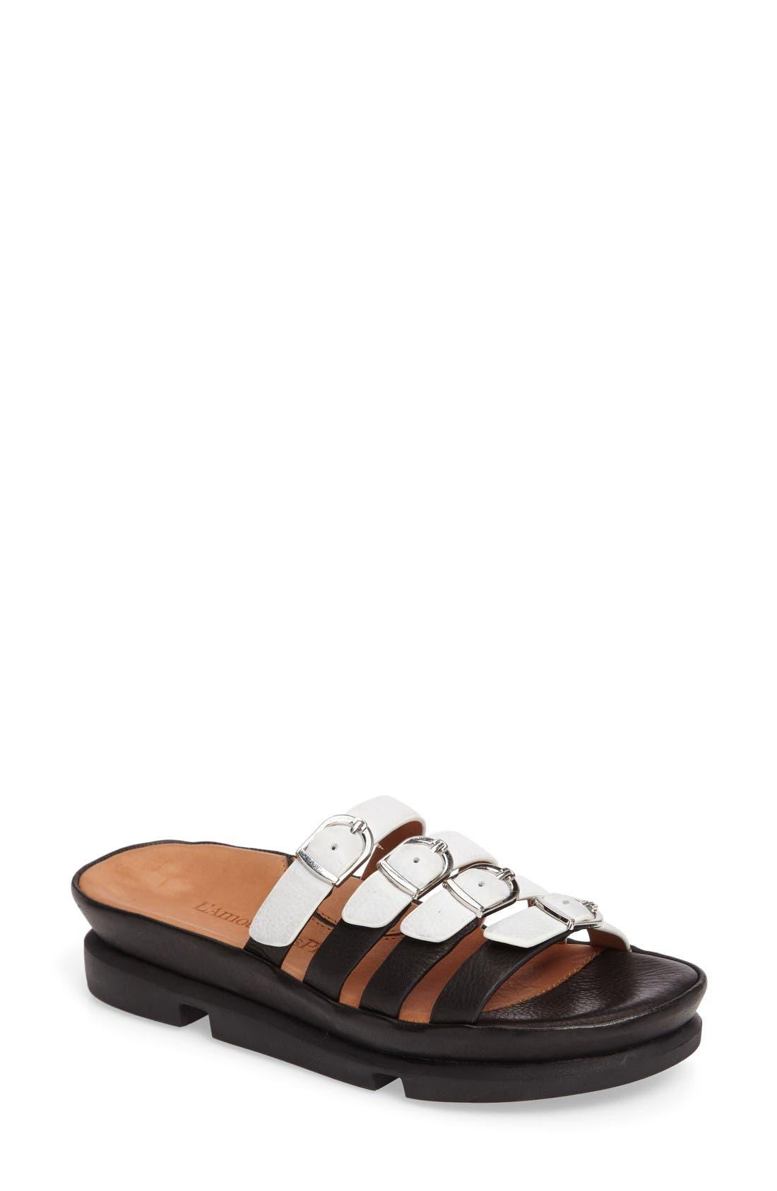 Viletta Slide Sandal,                         Main,                         color, White/ Black Leather
