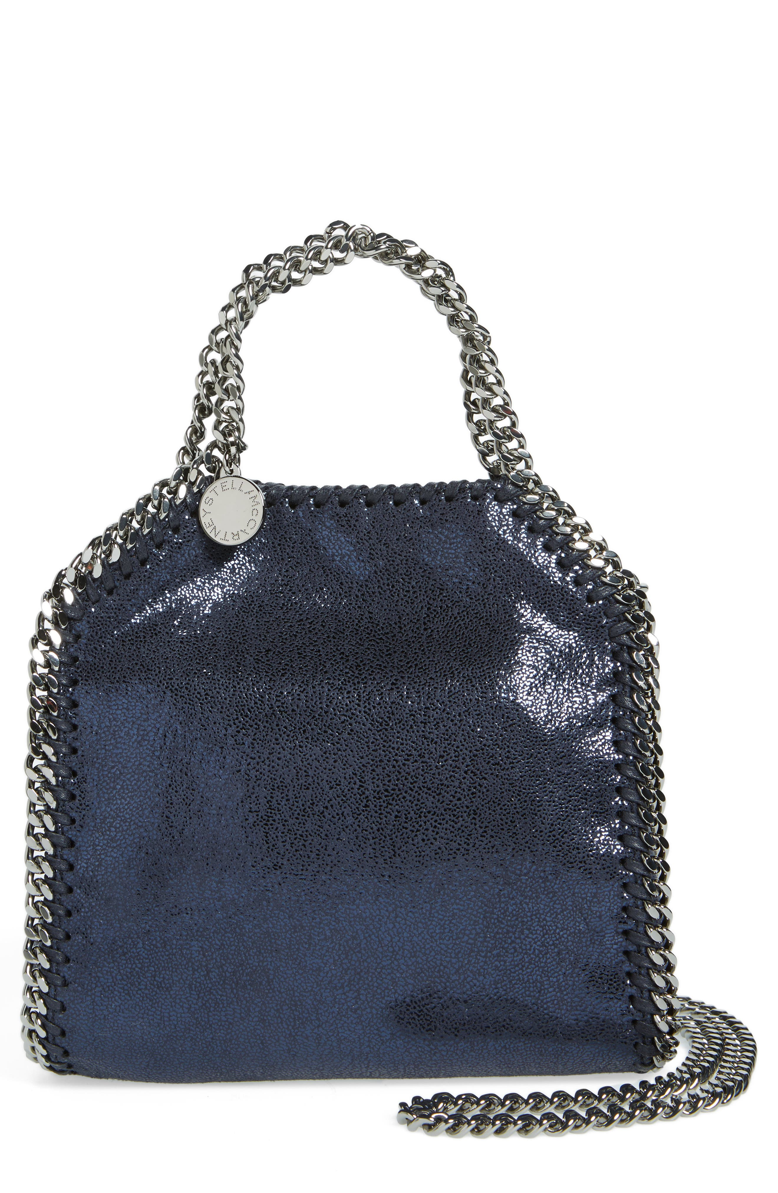 'Tiny Falabella' Metallic Faux Leather Crossbody Bag,                             Main thumbnail 1, color,                             Ink