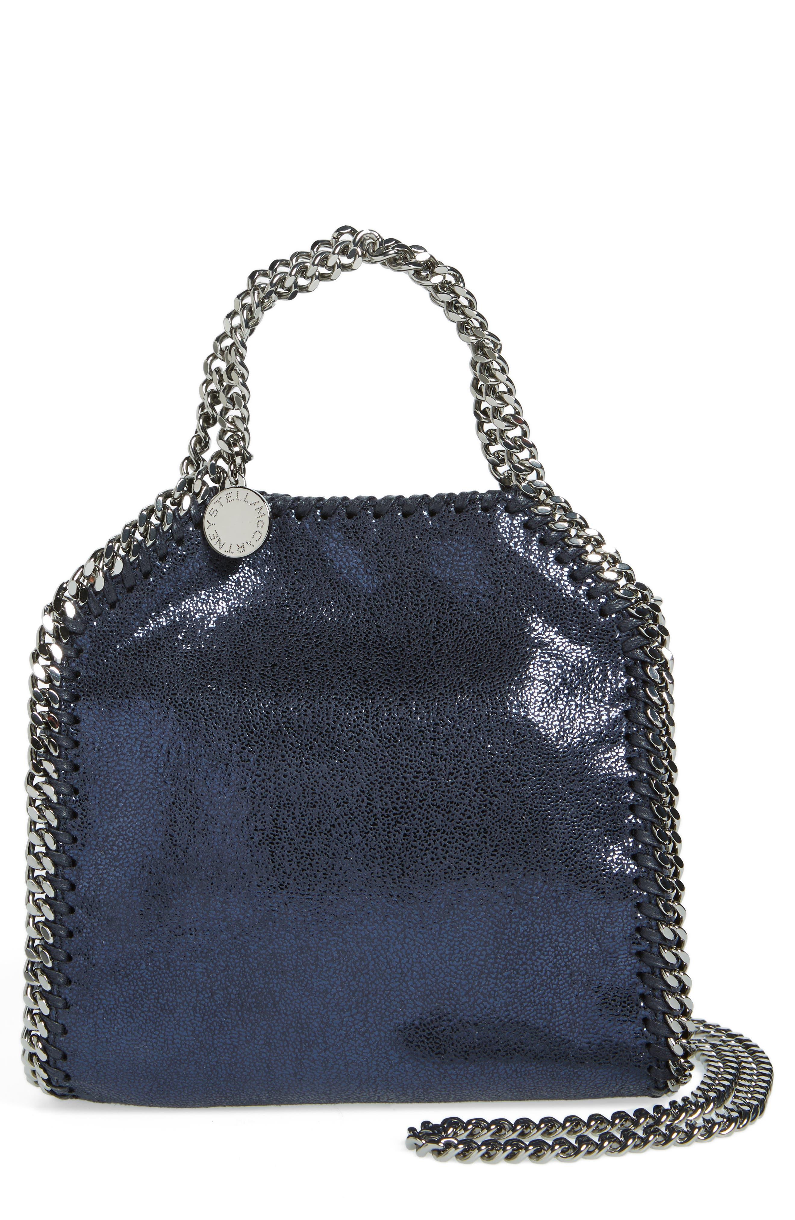'Tiny Falabella' Metallic Faux Leather Crossbody Bag,                         Main,                         color, Ink