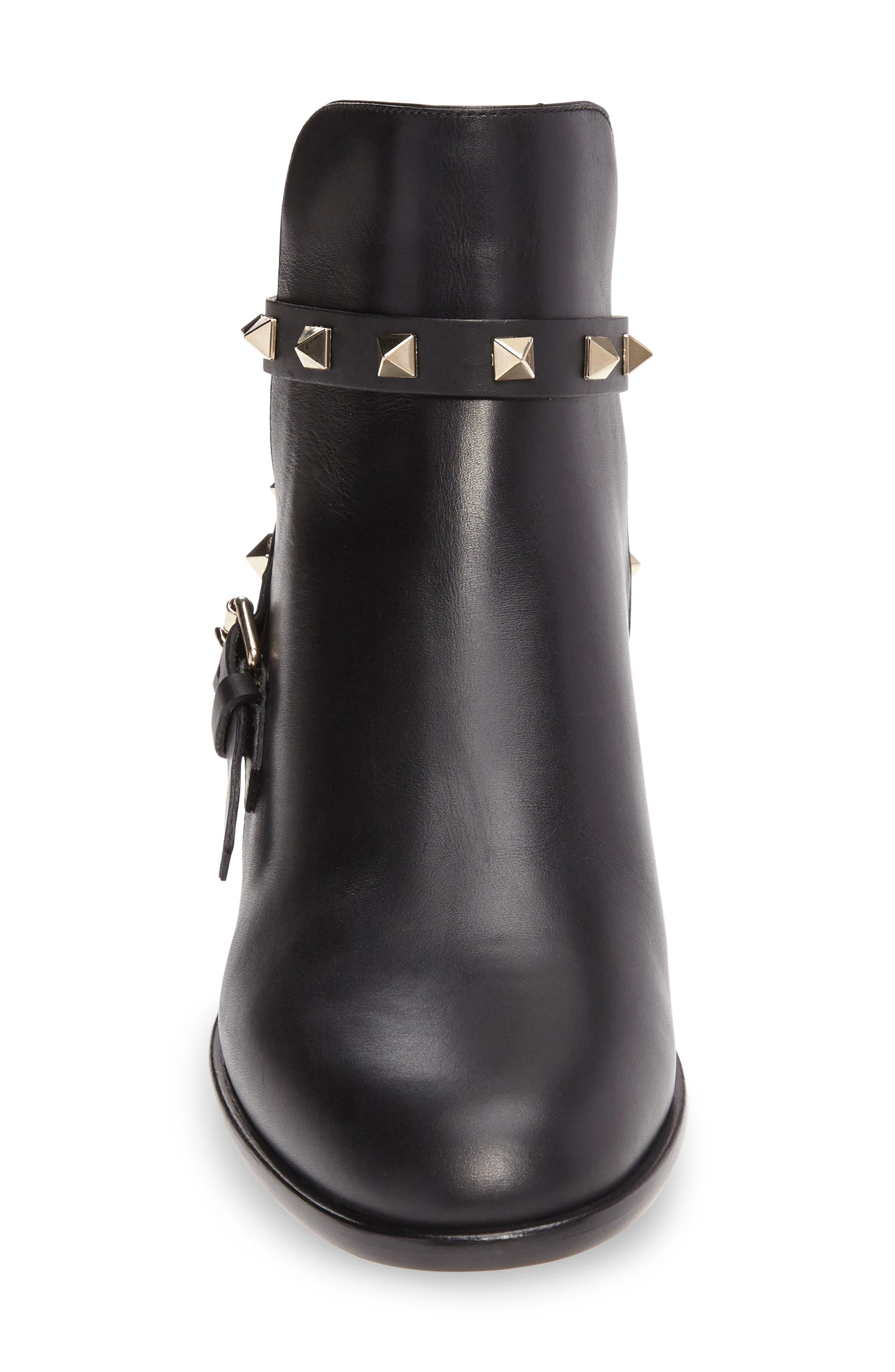 Rockstud Short Bootie,                             Alternate thumbnail 3, color,                             Black Leather