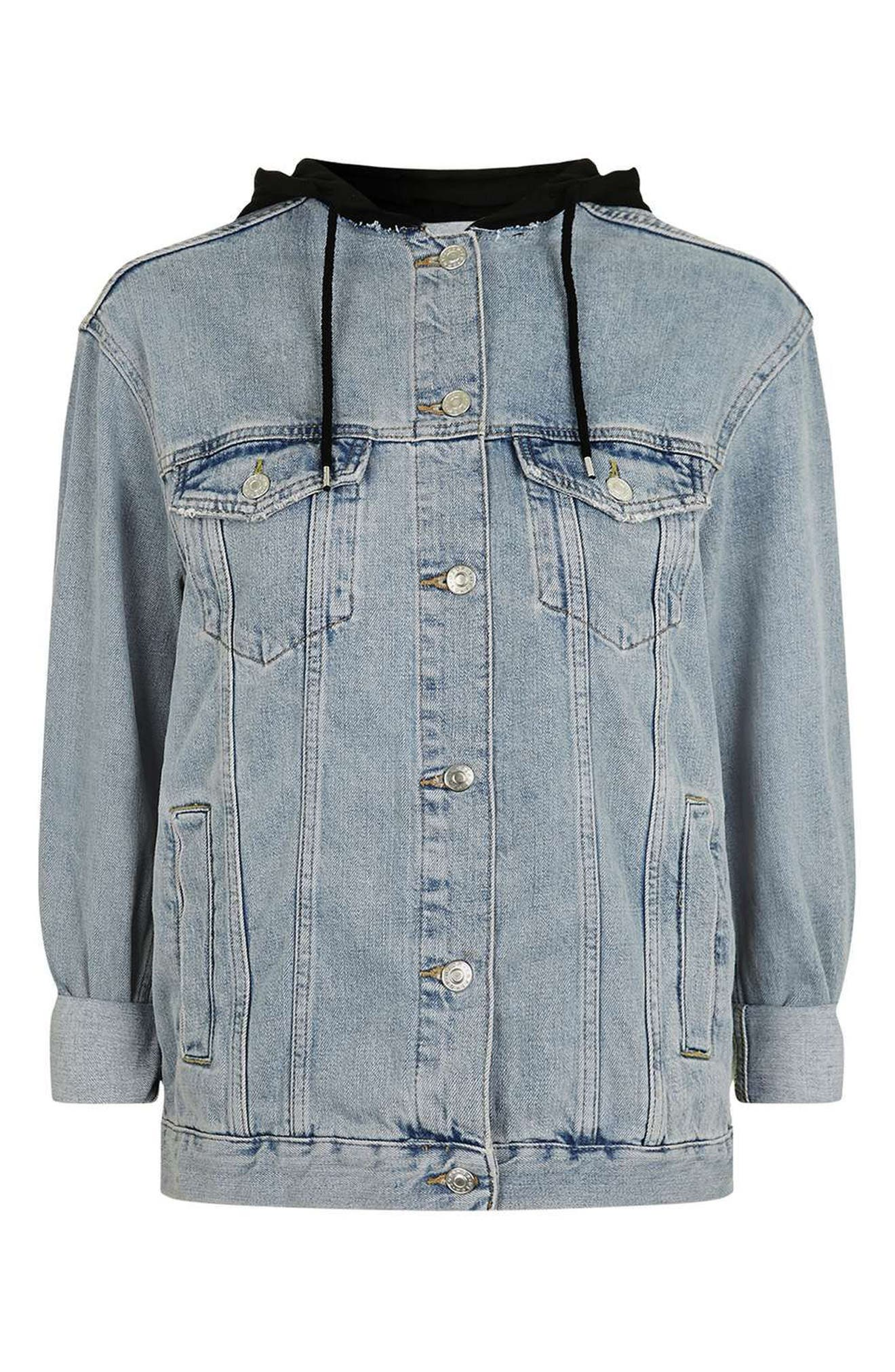 Alternate Image 5  - Topshop Hooded Denim Jacket