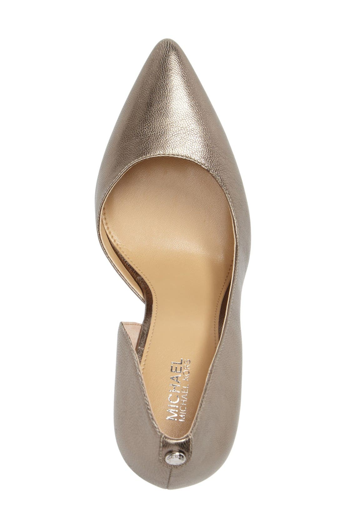 Nathalie Demi d'Orsay Pointy Toe Pump,                             Alternate thumbnail 3, color,                             Nickel