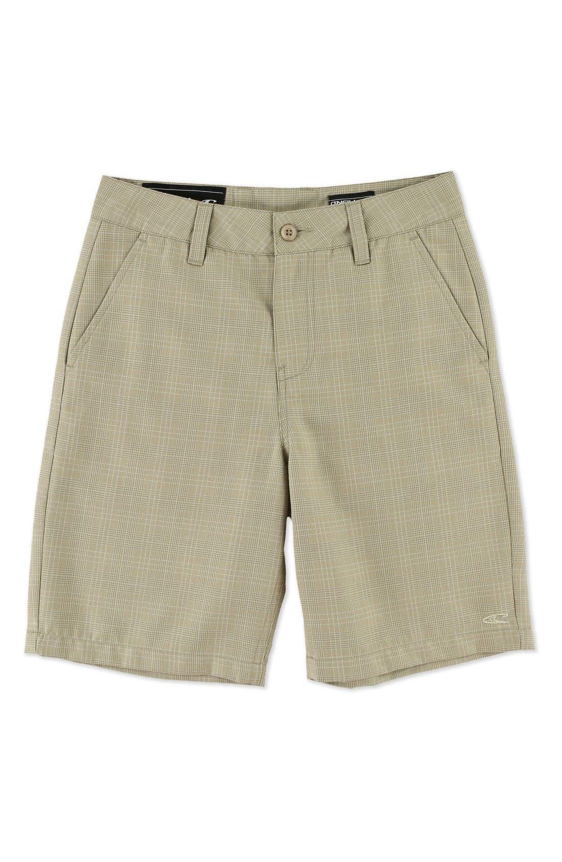 Delta Plaid Chino Shorts,                         Main,                         color, Dark Stone