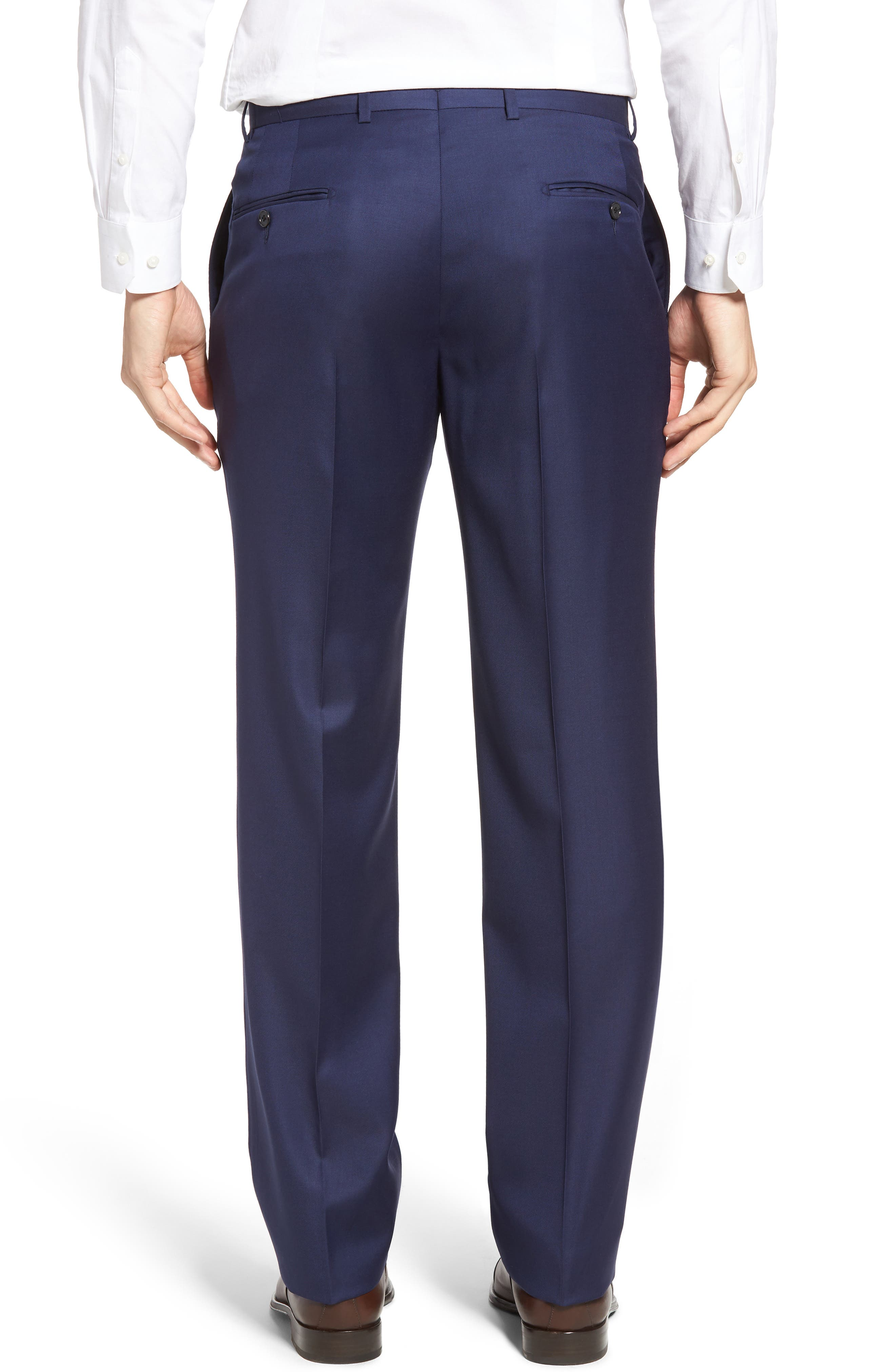Alternate Image 2  - Hickey Freeman Classic B Fit Flat Front Solid Wool Trousers