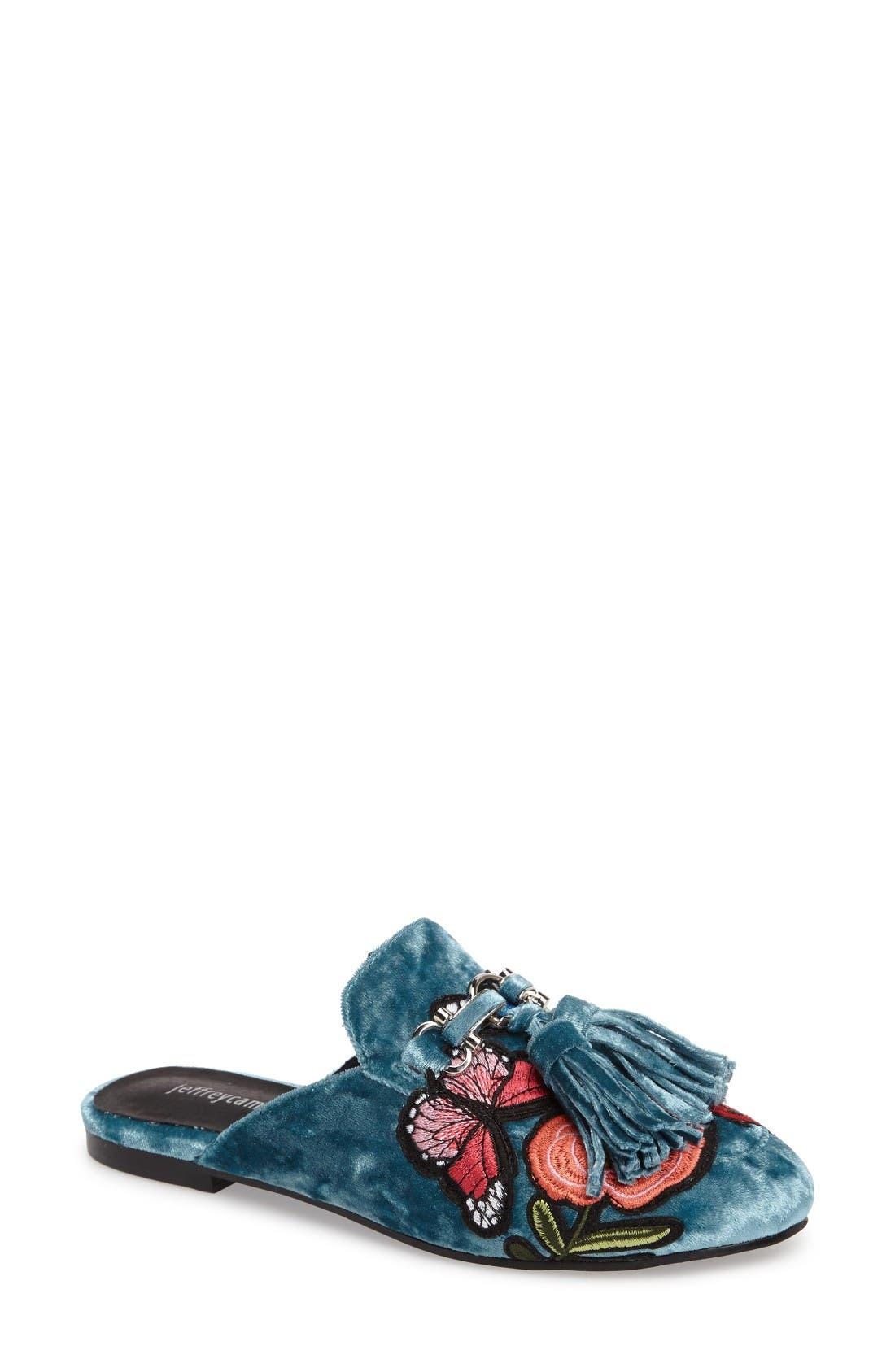 Alternate Image 1 Selected - Jeffrey Campbell Apfel Flower Tassel Loafer Mule (Women)