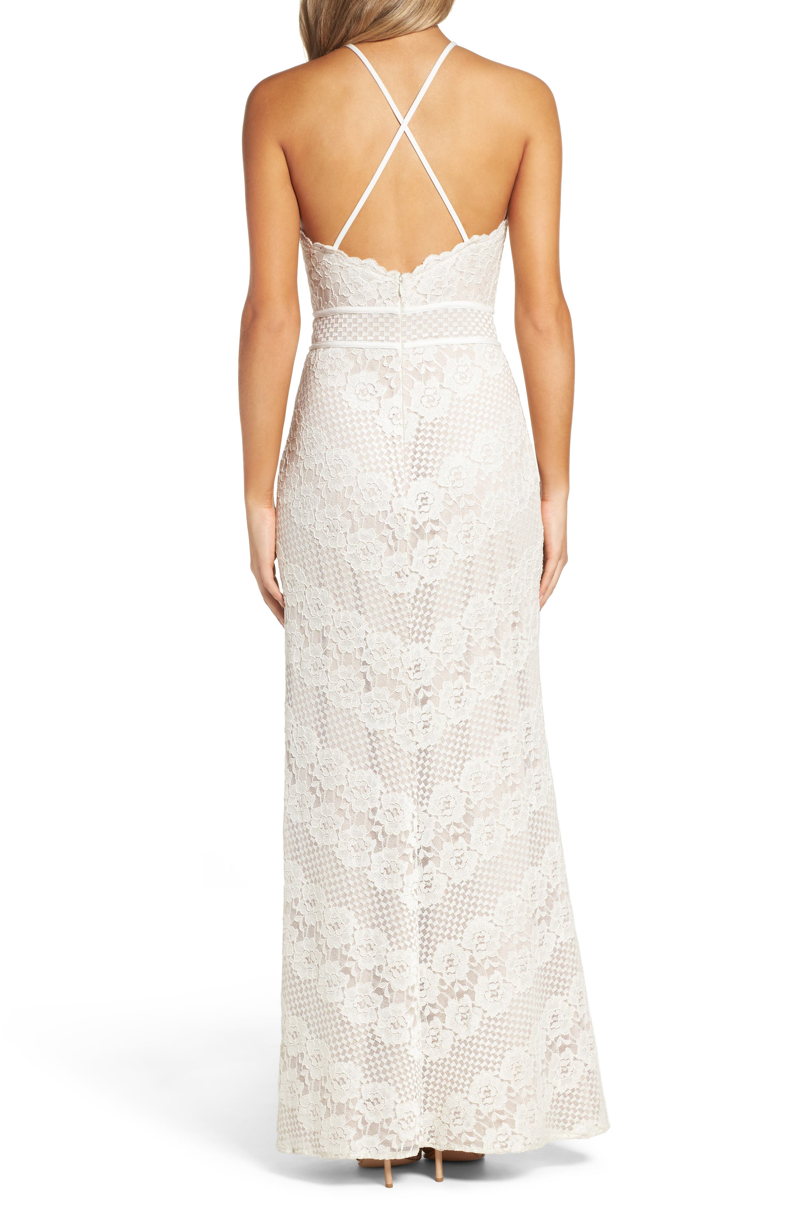 Crisscross Lace Gown,                             Alternate thumbnail 2, color,                             Ivory/ Nude