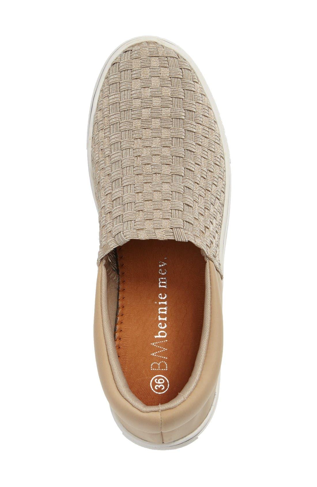 Ofelia Woven Elastic Sneaker,                             Alternate thumbnail 3, color,                             Light Gold Fabric