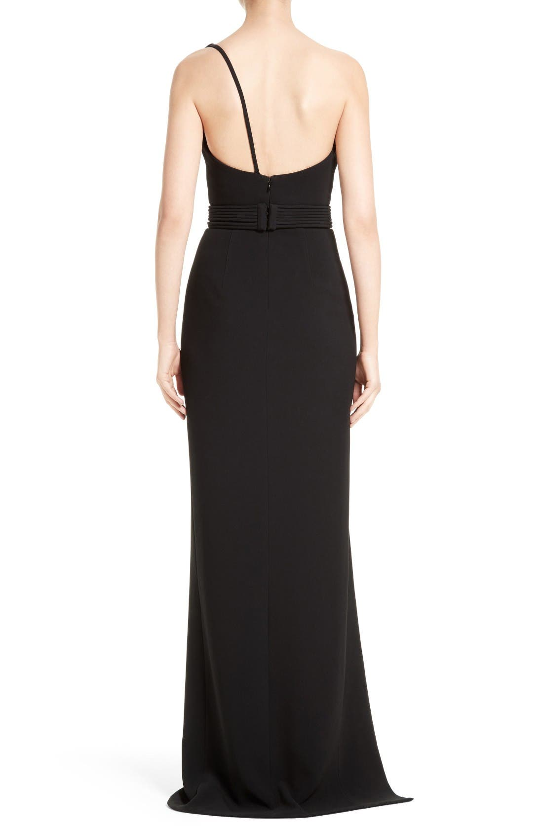 Alternate Image 2  - Brandon Maxwell Belted Foldover Neck Gown with High Slit