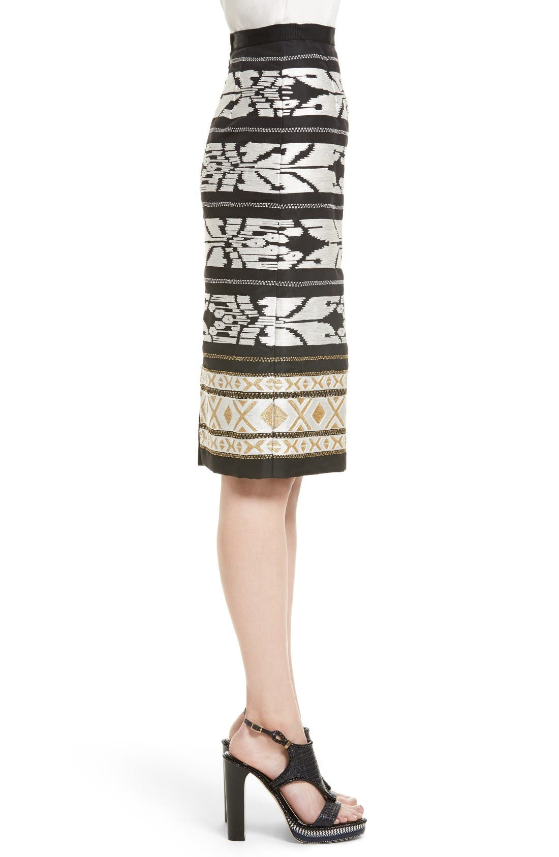 Alternate Image 4  - Oscar de la Renta Ikat Embroidered Pencil Skirt