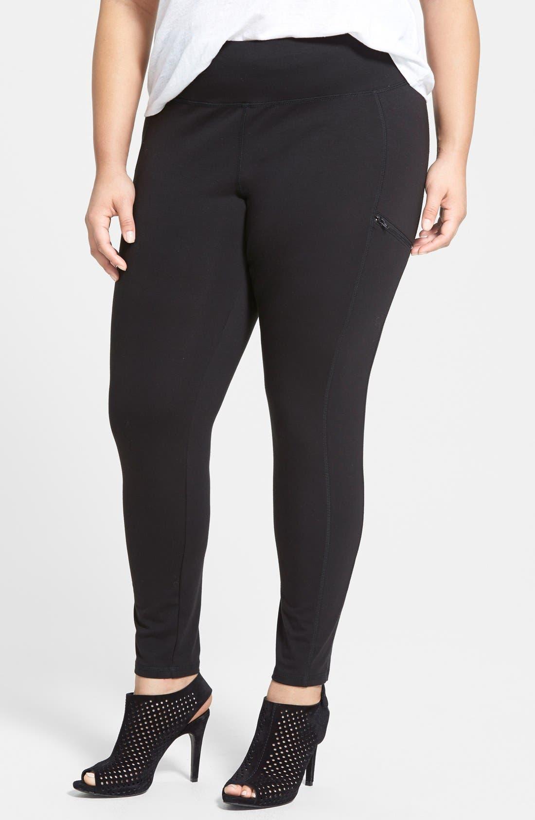 Skinny Knit Pants,                             Main thumbnail 1, color,                             Black