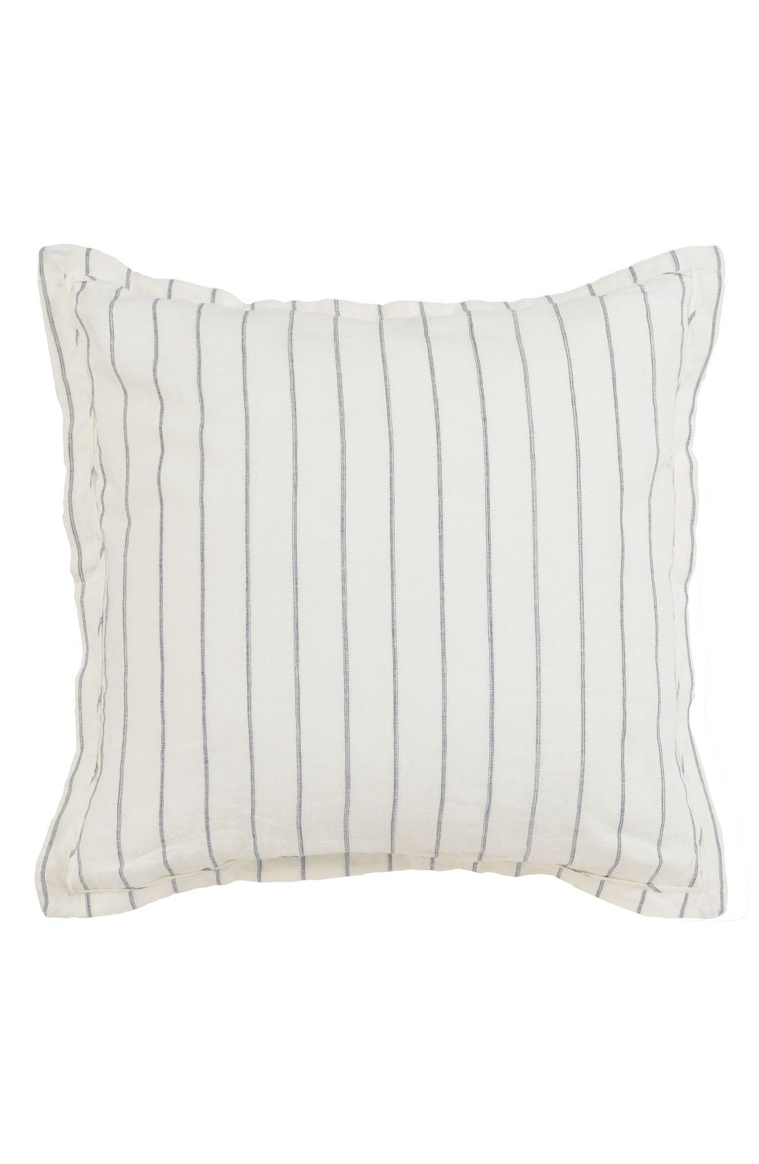 Pinstripe Euro Sham,                         Main,                         color, Ivory/ Charcoal