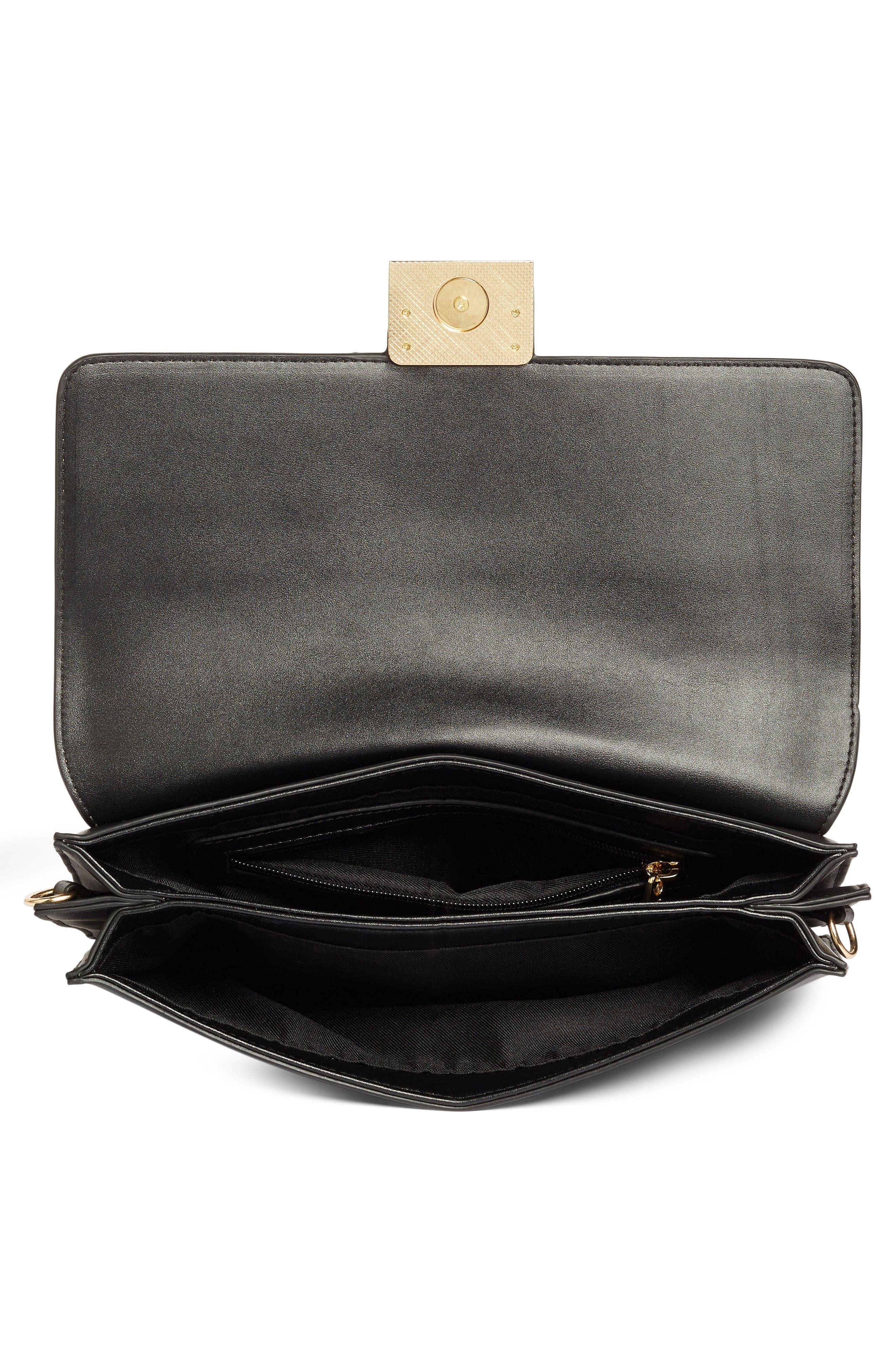 Leighton Colorblock Faux Leather Crossbody Bag,                             Alternate thumbnail 4, color,                             Black/Cognac