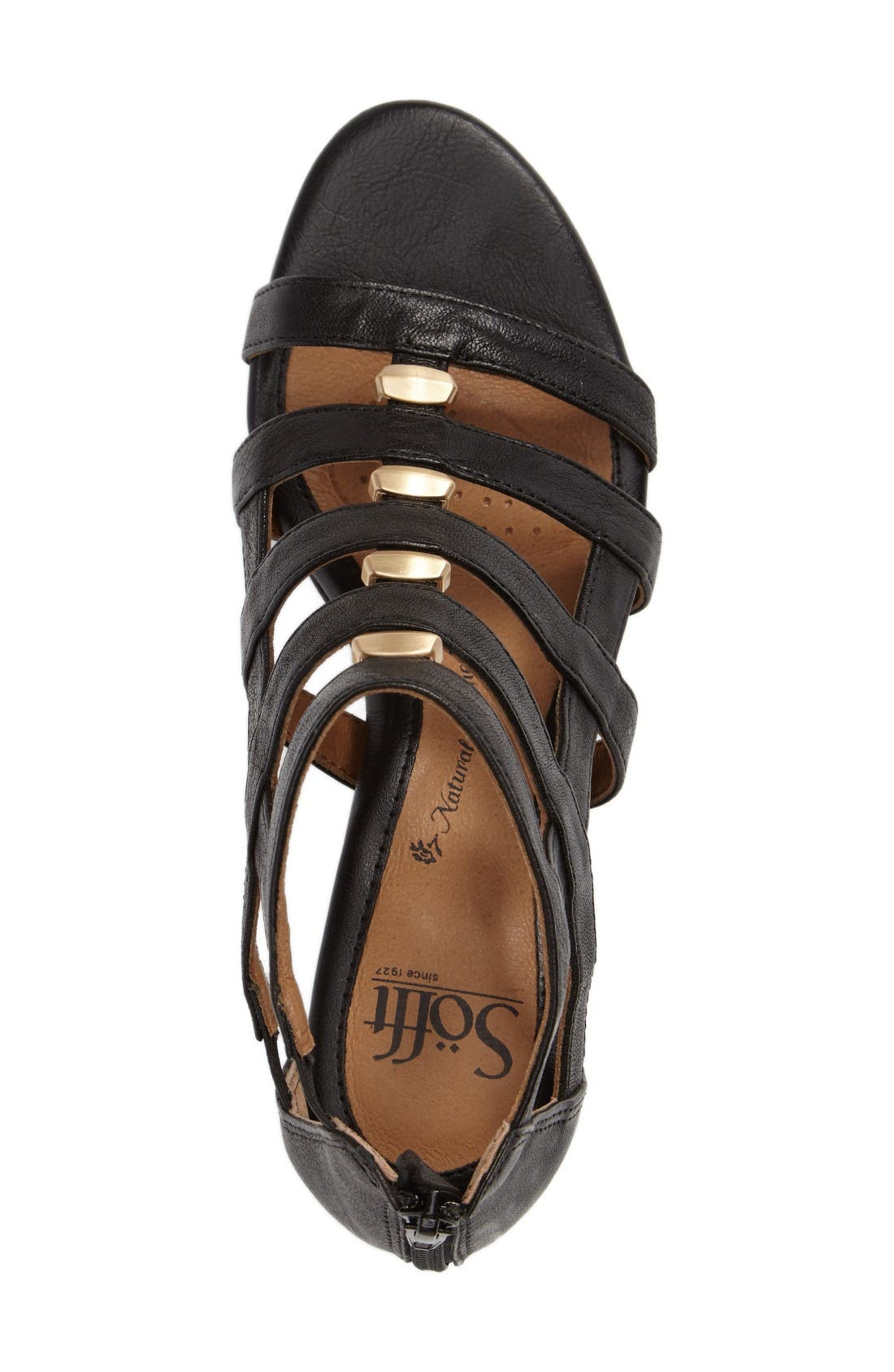 Rio Gladiator Wedge Sandal,                             Alternate thumbnail 3, color,                             Black Leather