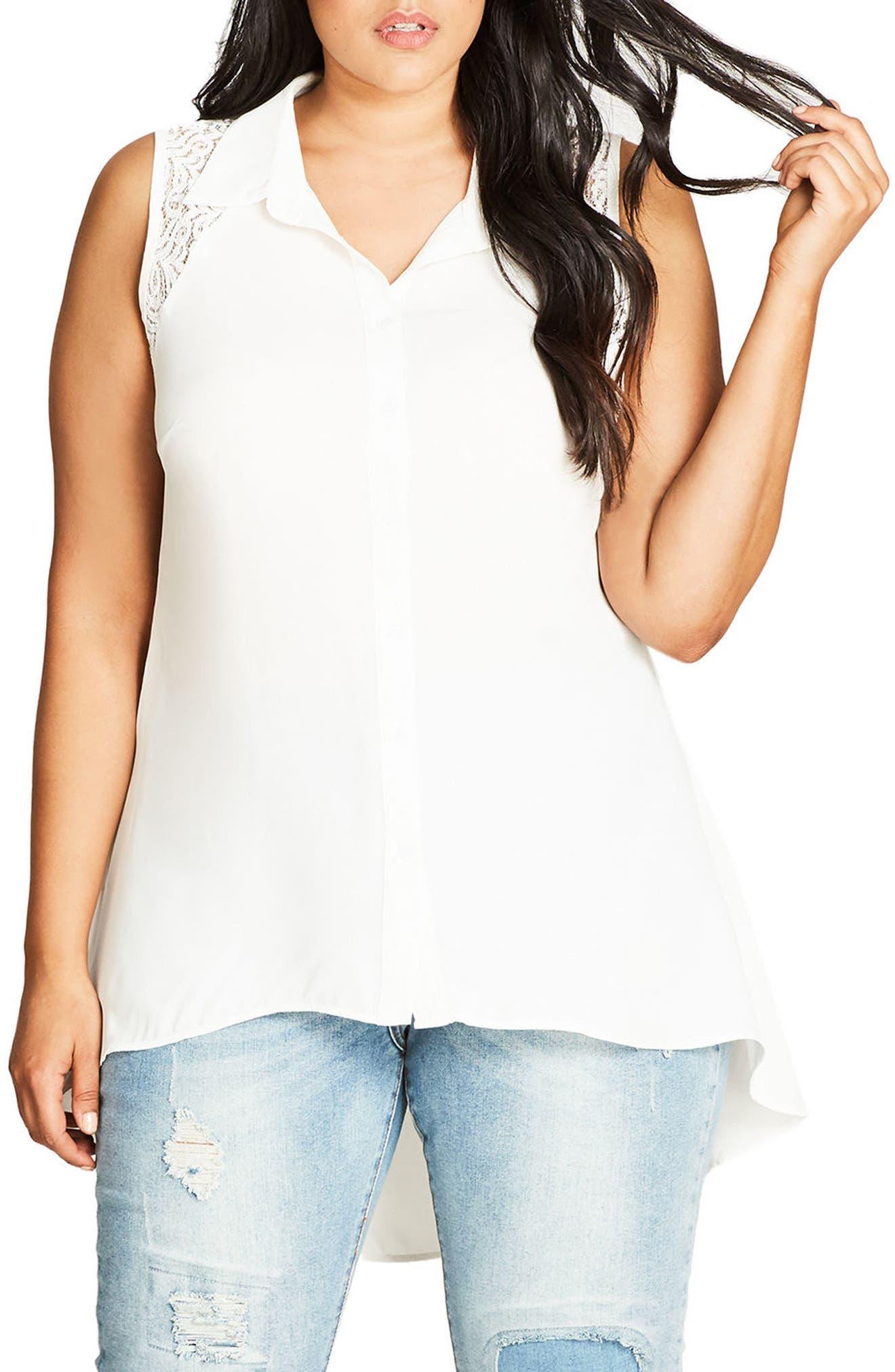 Flirty Lace Shirt,                             Main thumbnail 1, color,                             Ivory
