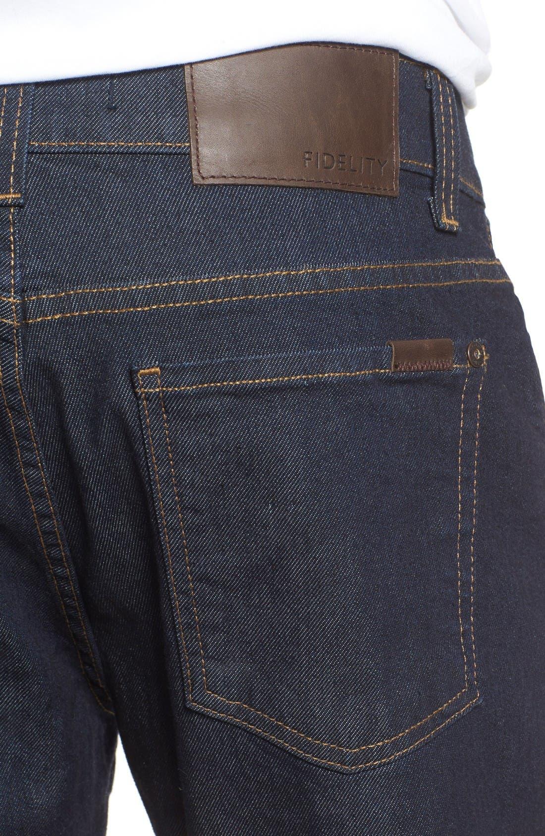 Alternate Image 4  - Fidelity Denim Jimmy Slim Straight Leg Jeans (Halo Rinse)