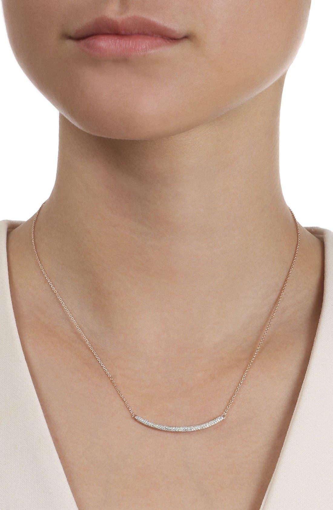Skinny Diamond Necklace,                             Alternate thumbnail 5, color,                             Rose Gold