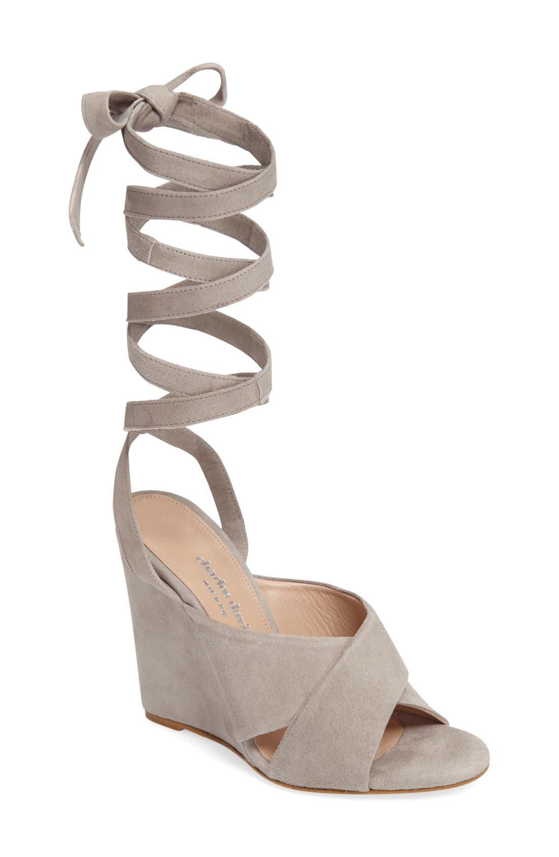 Quest Wraparound Lace Sandal,                         Main,                         color, Grey Suede