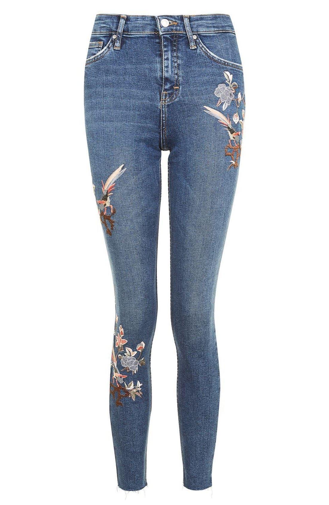 Moto Jamie Embroidered Skinny Jeans,                             Alternate thumbnail 4, color,                             Mid Denim
