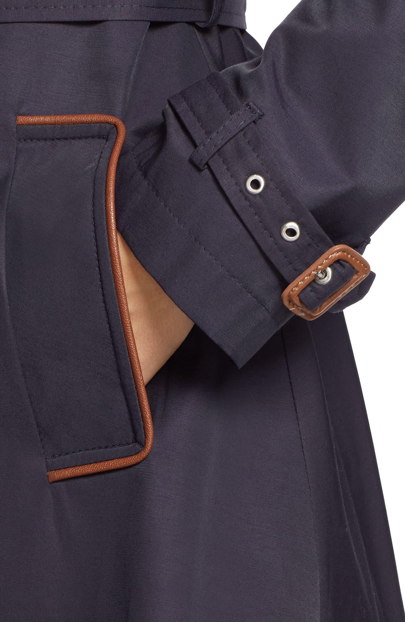 Alternate Image 4  - Lauren Ralph Lauren Faux Leather Trim Trench Coat (Regular & Petite)
