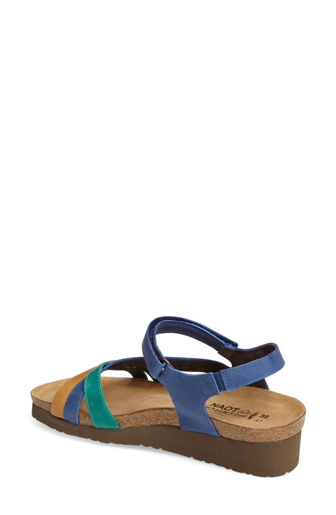'Sophia' Sandal,                             Alternate thumbnail 2, color,                             Blue/ Brown Nubuck Leather