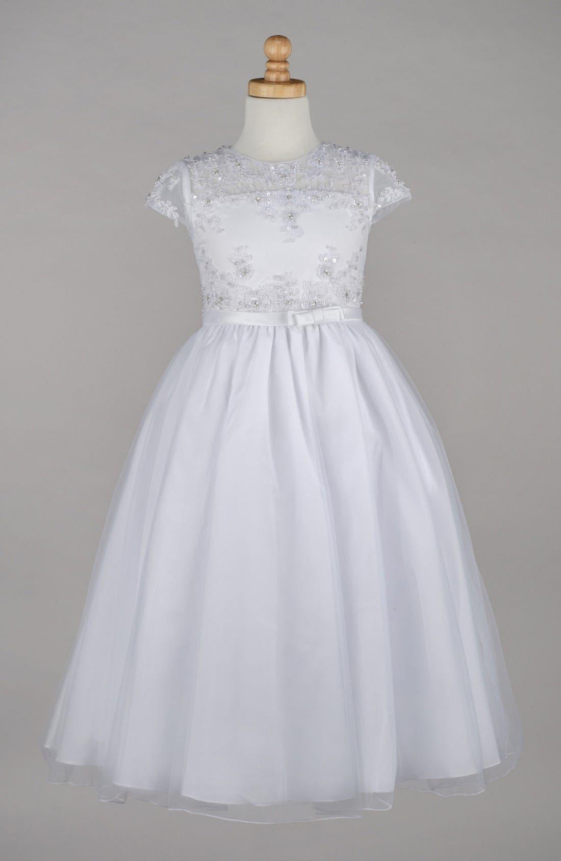 Alternate Image 1 Selected - Lauren Marie Beaded Lace Bodice First Communion Dress (Little Girls & Big Girls)