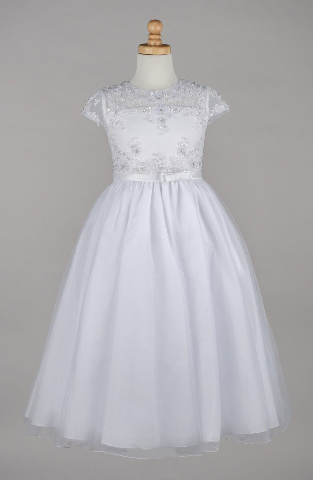 Main Image - Lauren Marie Beaded Lace Bodice First Communion Dress (Little Girls & Big Girls)