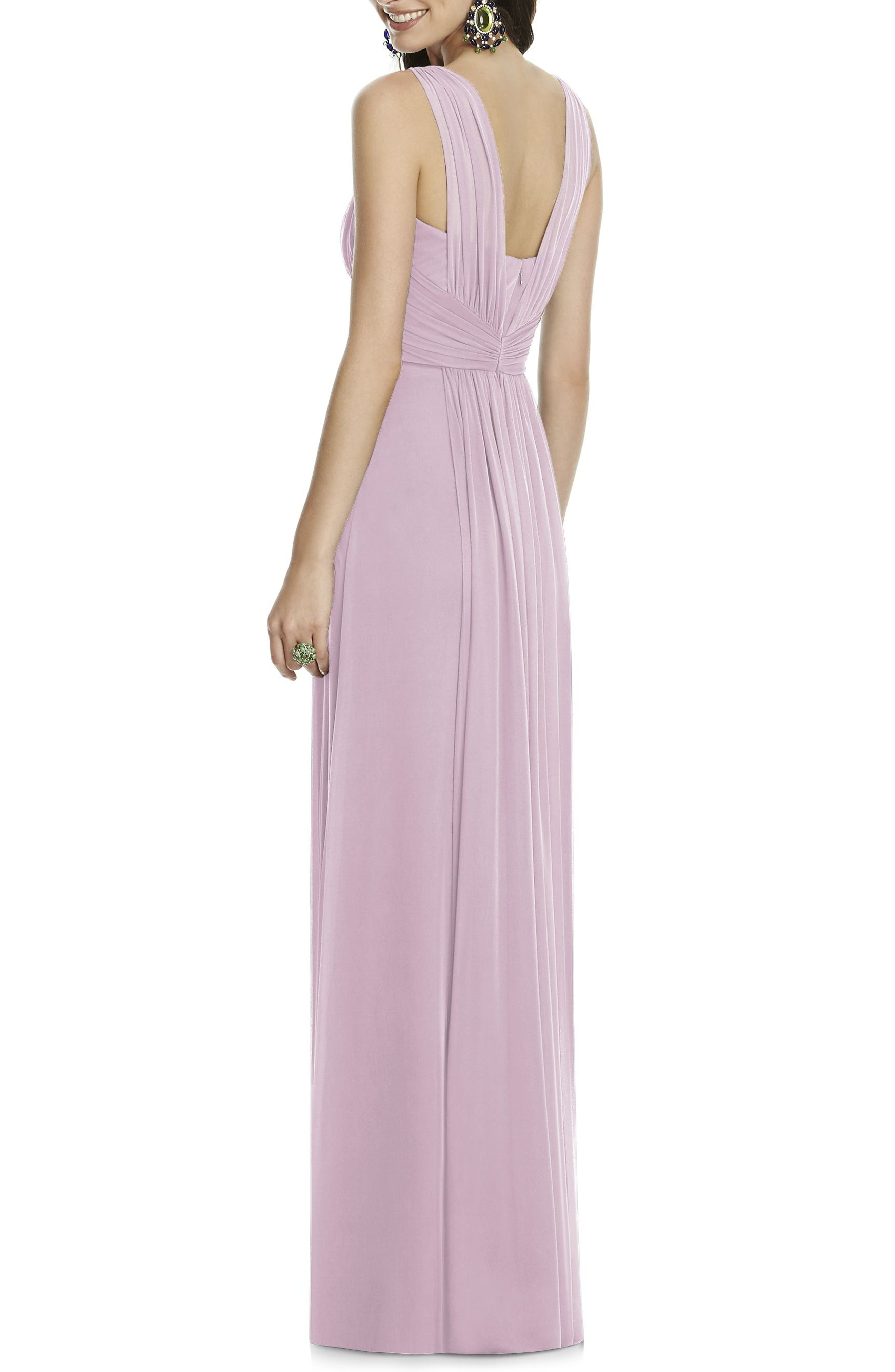 Illusion Sleeve Chiffon Column Gown,                             Alternate thumbnail 2, color,                             Suede Rose