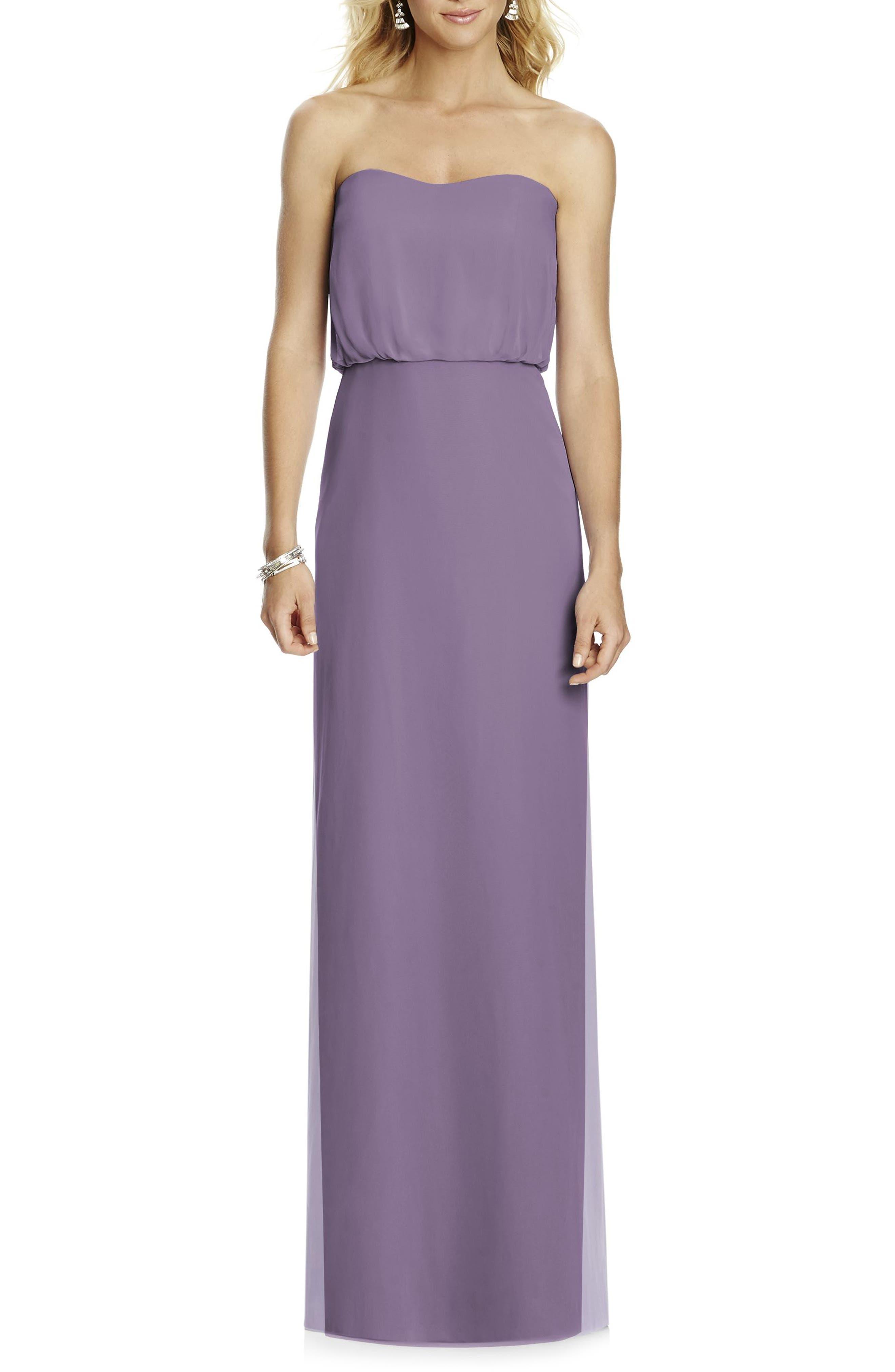 Strapless Blouson Chiffon Gown,                         Main,                         color, Lavender