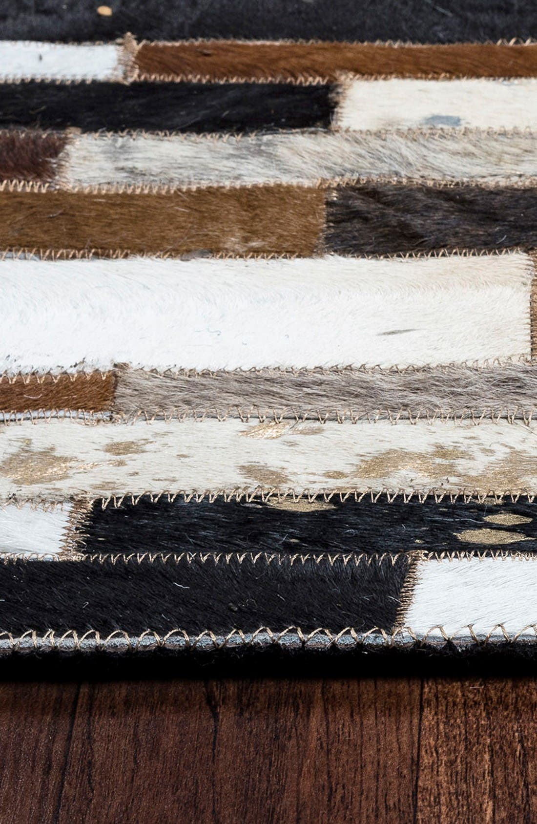 'Cumberland Pass' Hand Sewn Leather Area Rug,                             Alternate thumbnail 2, color,                             Brown/ Multi